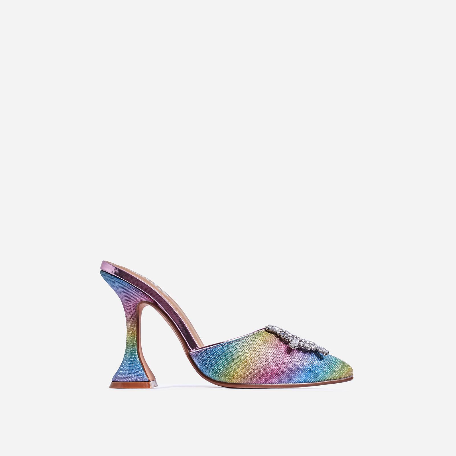 Moonlight Diamante Detail Pyramid Heel Mule In Rainbow Print Glitter