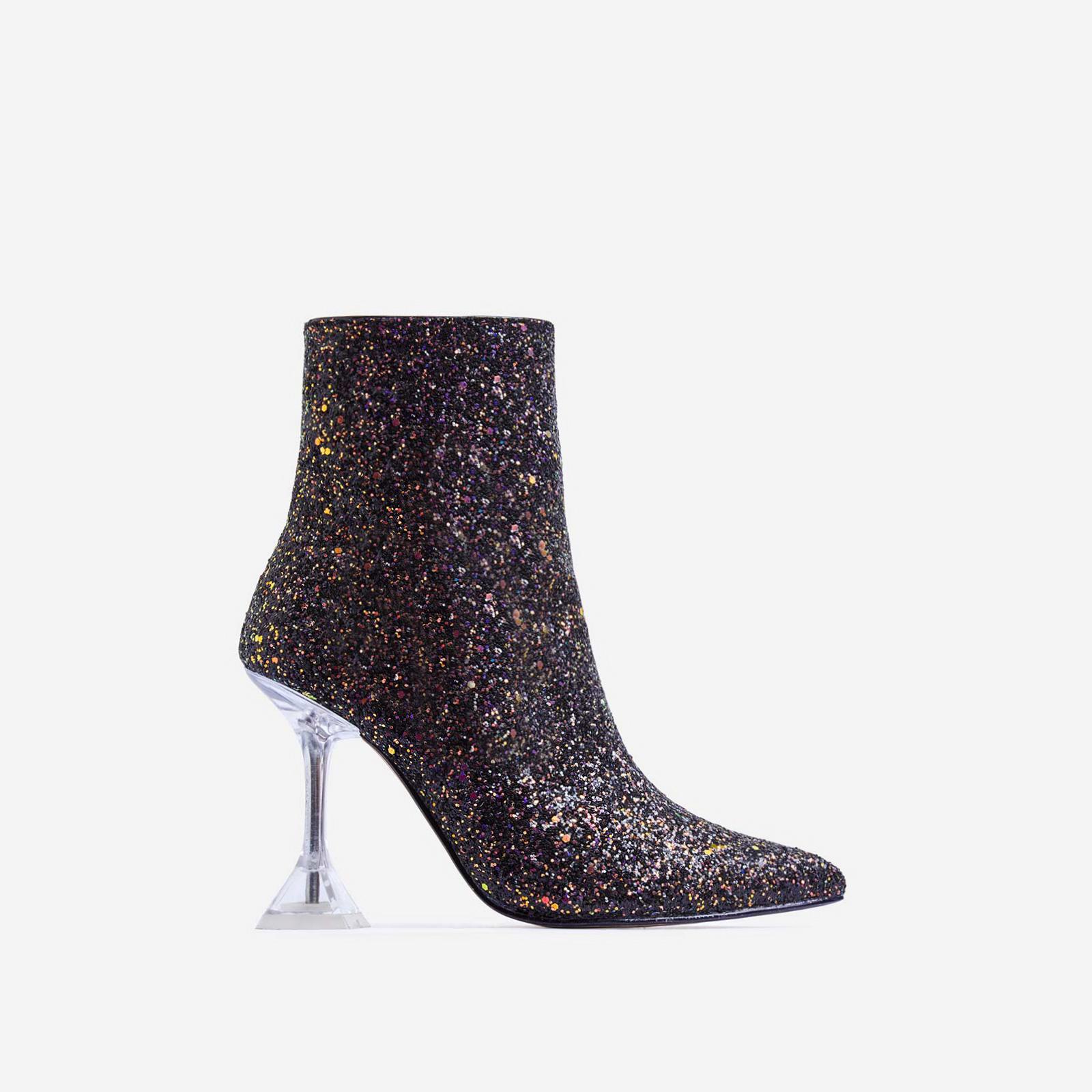 Bacardi Perspex Pyramid Heel Ankle Boot In Black Glitter