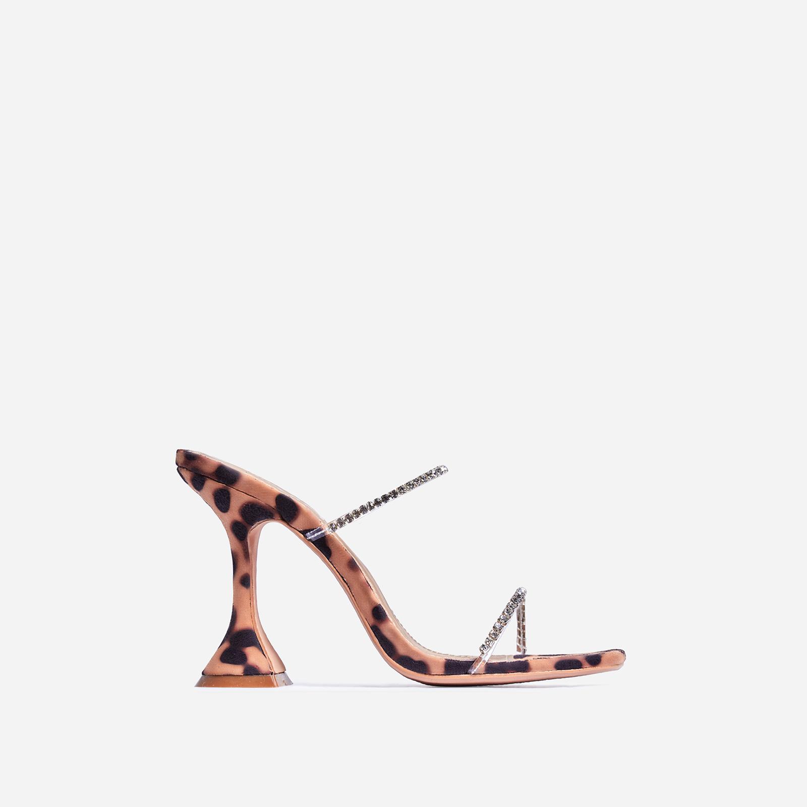 Dreams Diamante Detail Pyramid Heel Mule In Tan Leopard Print Faux Suede
