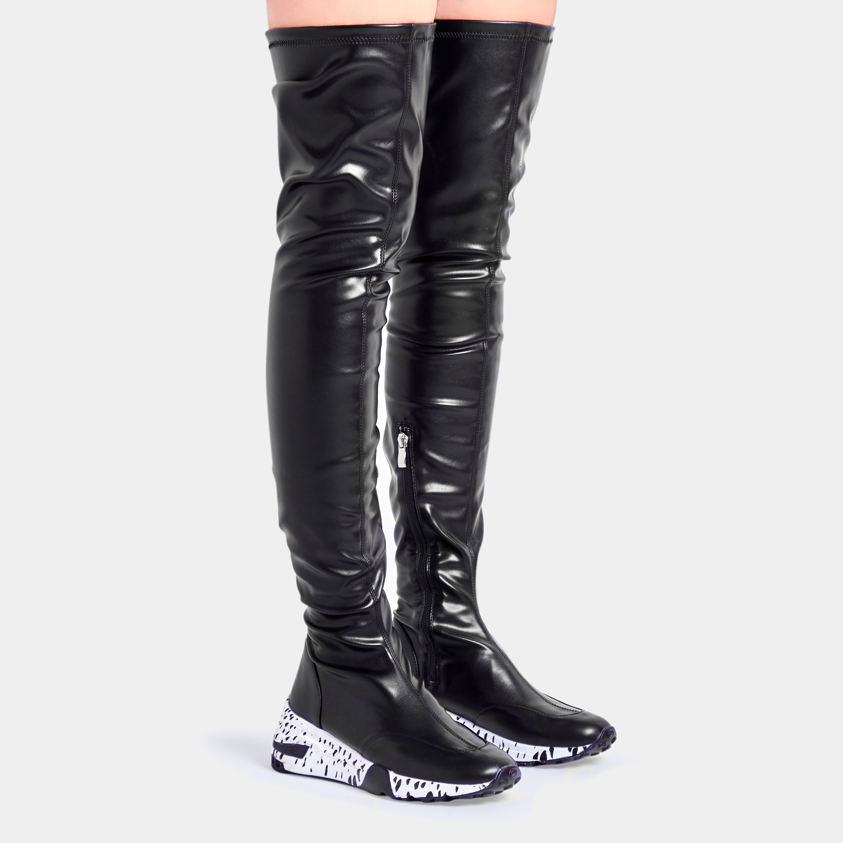 Posie Over The Knee Thigh High Long Boot In Black Faux Leather
