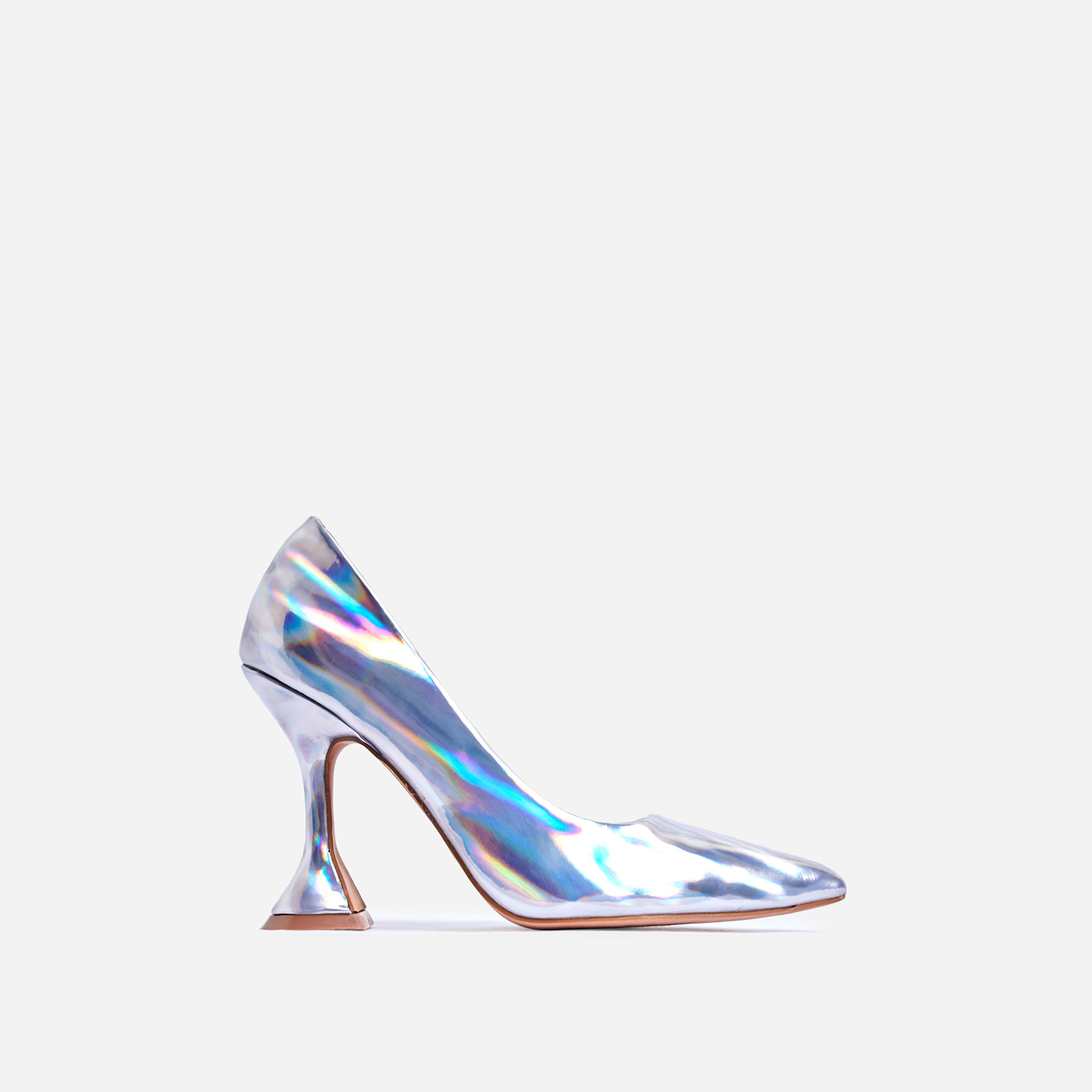 Tiller Pyramid Court Heel In Silver Holographic Faux Leather