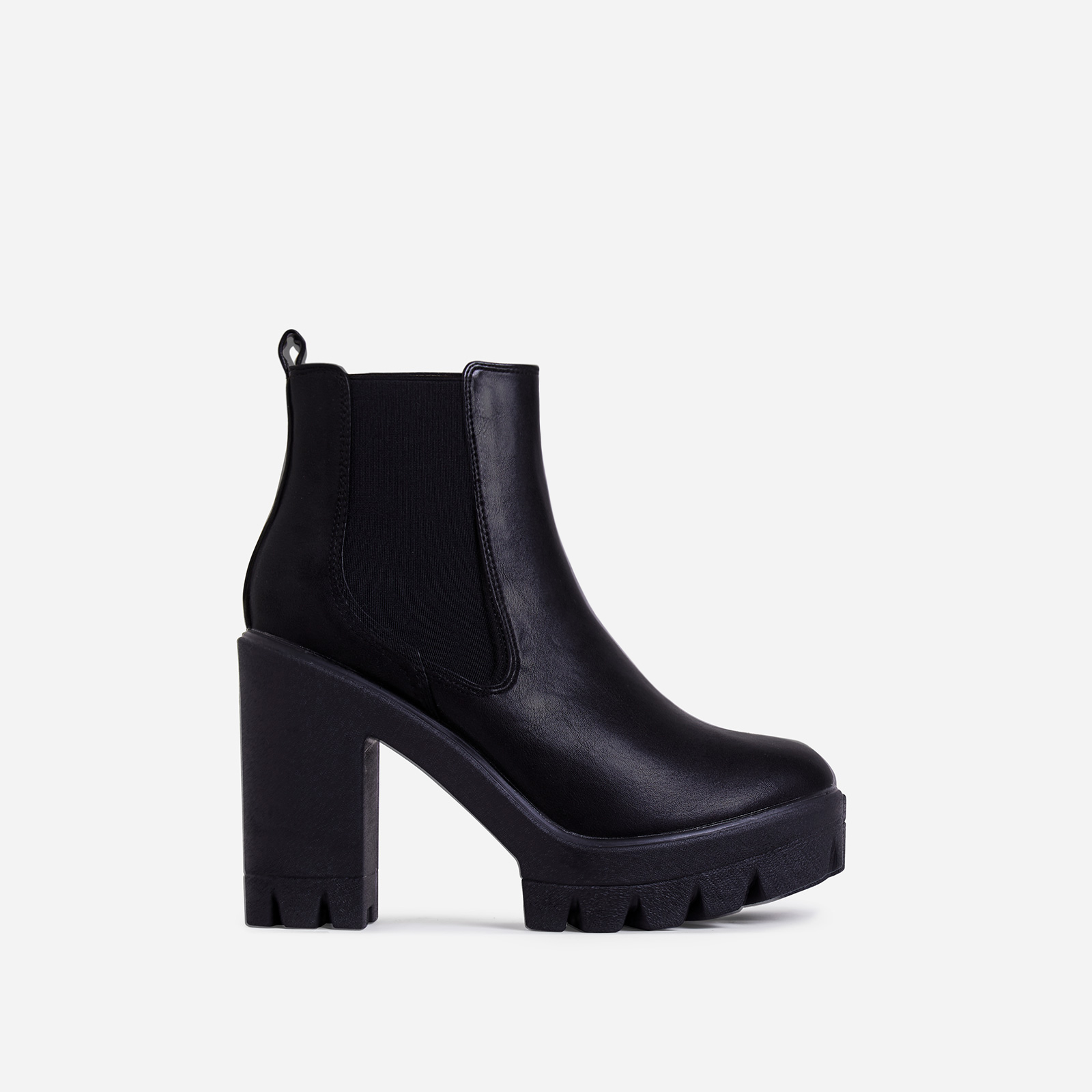 Liya Chunky Sole Ankle Chelsea Boot In Black Faux Leather