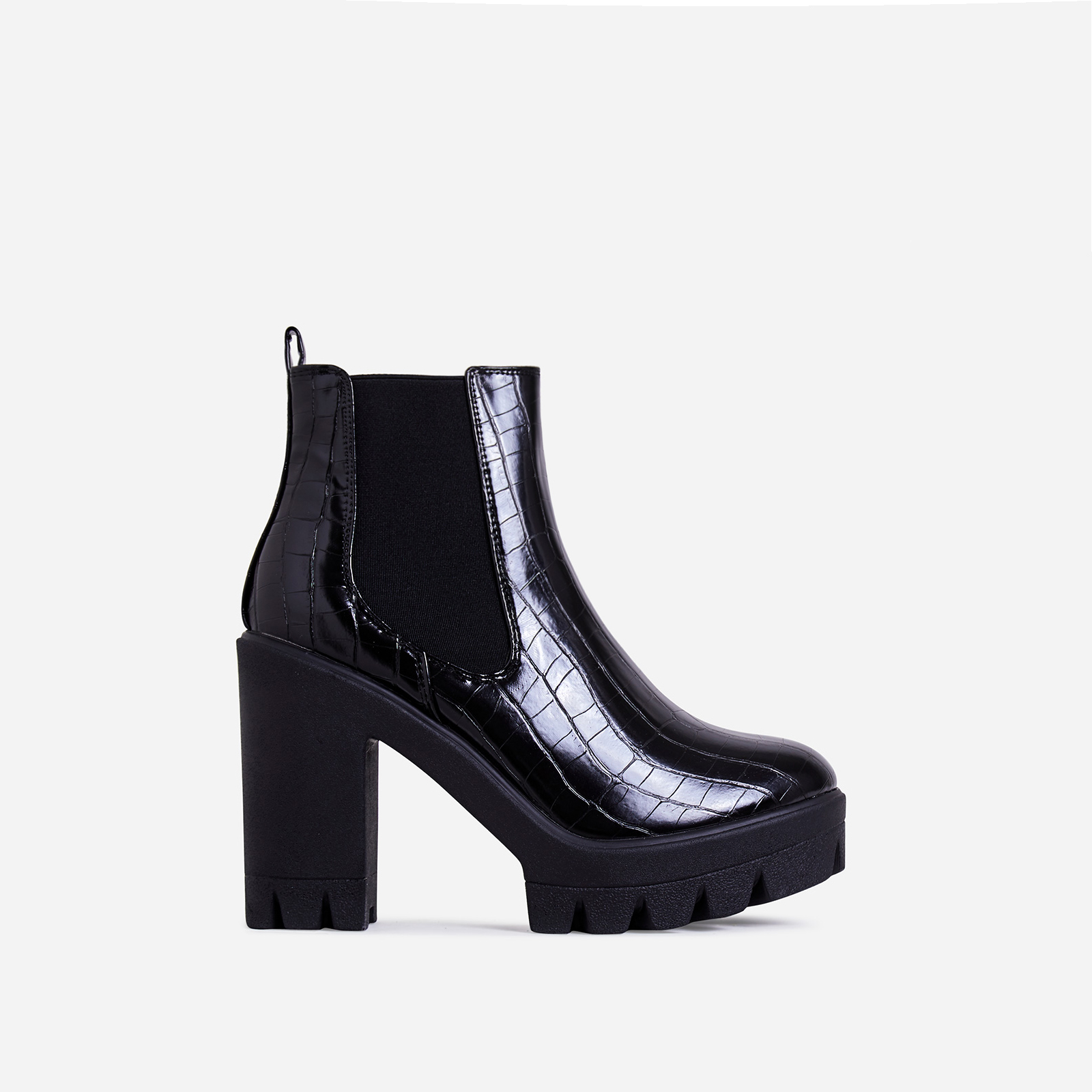 Liya Chunky Sole Ankle Chelsea Boot In Black Croc Print Faux Leather