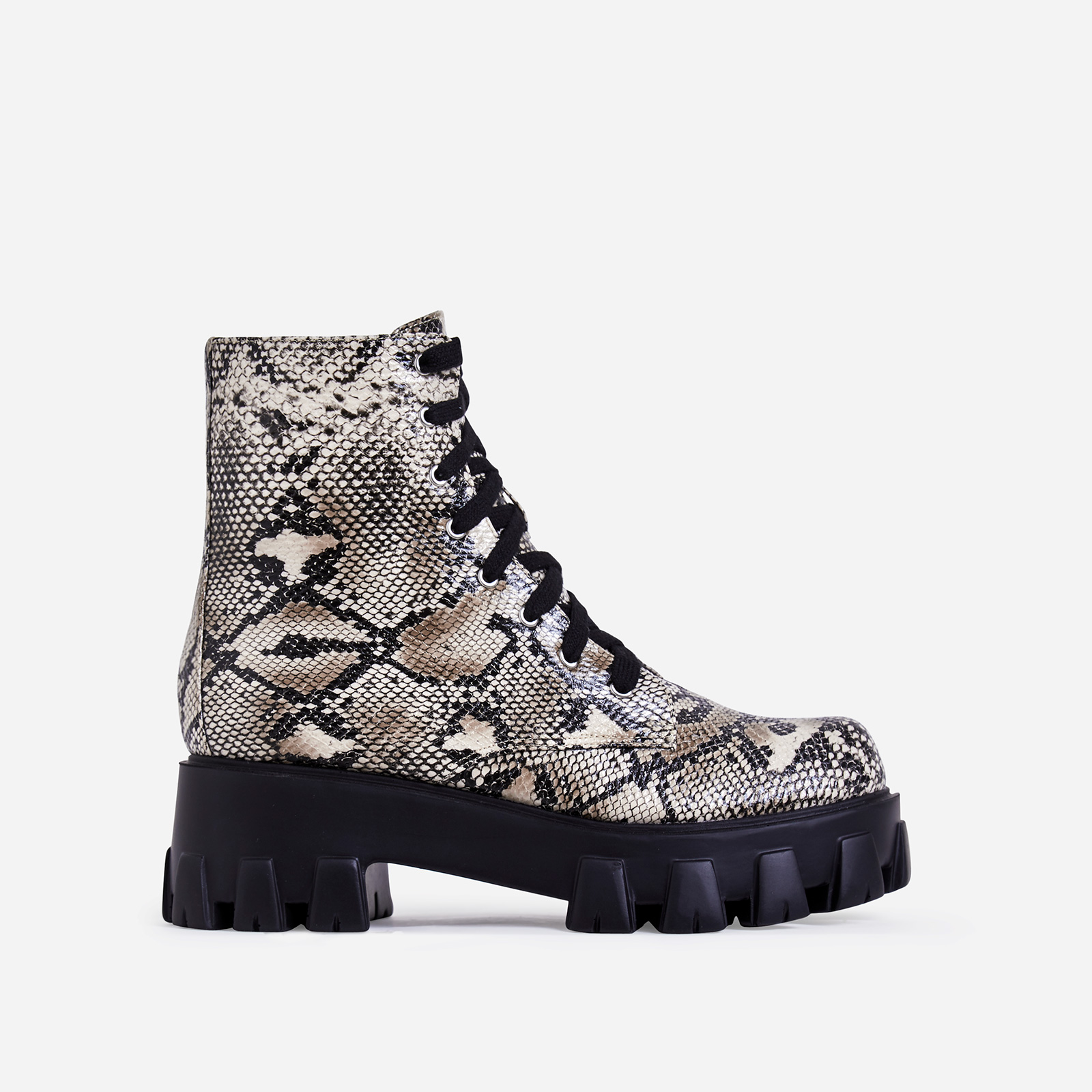 Harris Chunky Sole Lace Up Ankle Biker Boot In Nude Snake Print Faux Leather