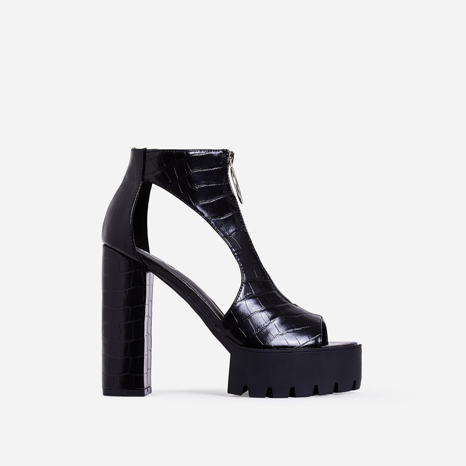 Bella Platform Cut Out Peep Toe Ankle Boot In Black Croc Print Faux Leather