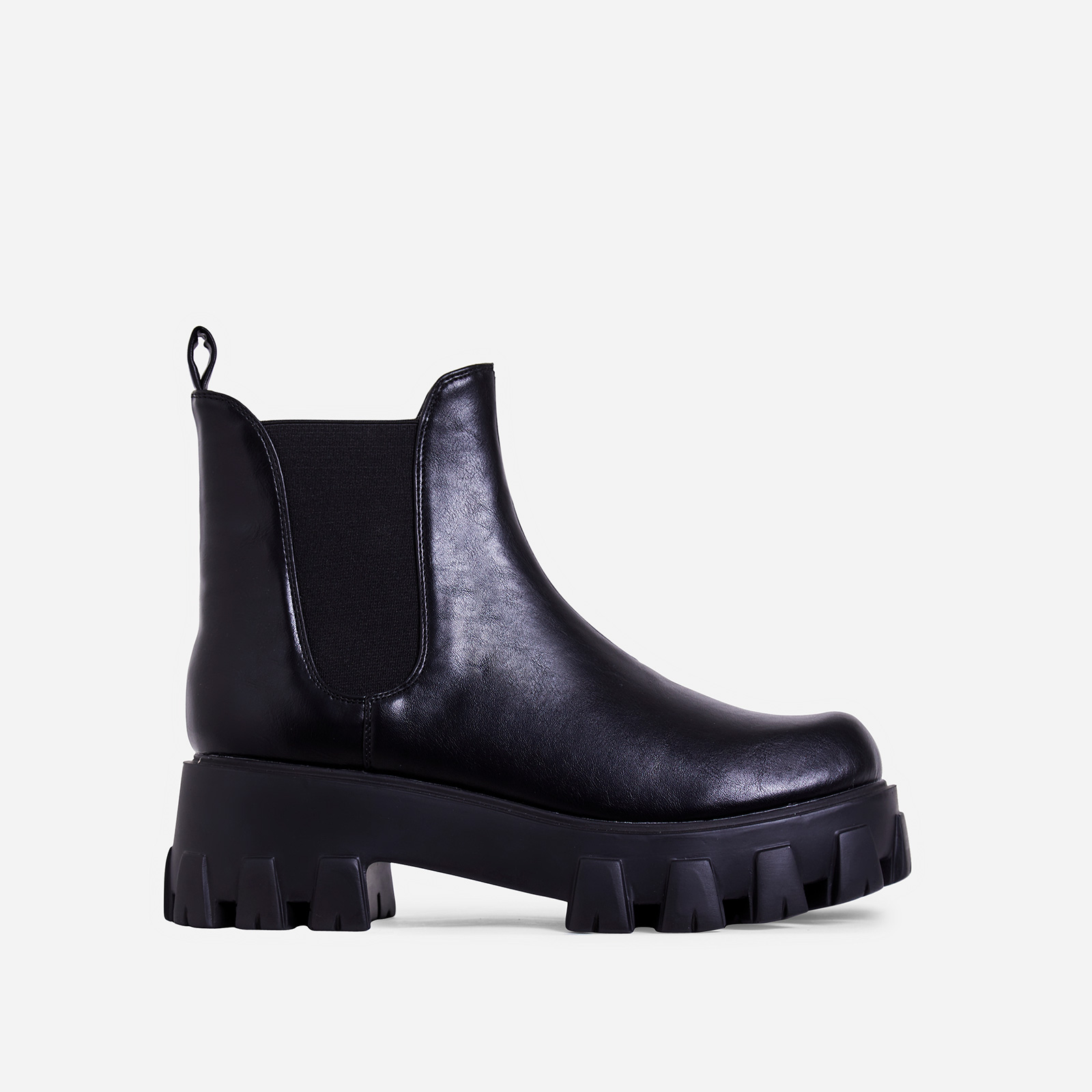 Easton Chunky Sole Ankle Chelsea Boot In Black Faux Leather