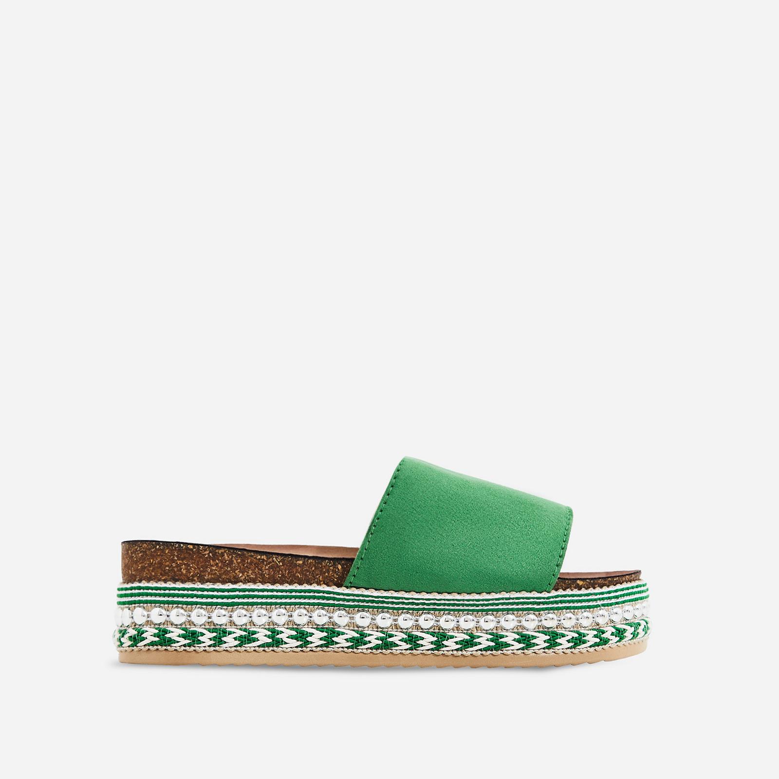 Tarvos Studded Detail Espadrille Sandal In Green Suede