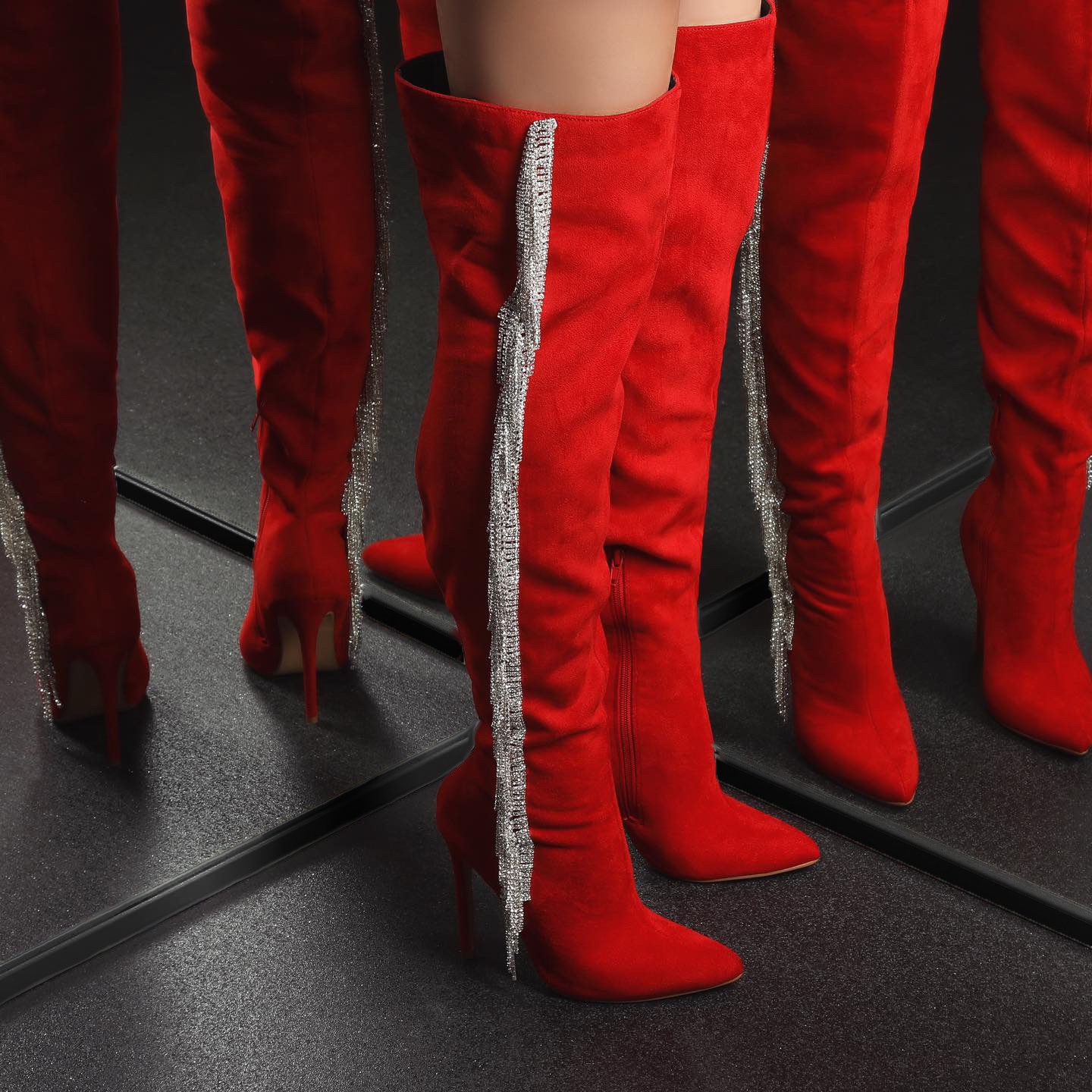 Movement Diamanate Tassel Over The Knee Thigh High Knee Boot In Red Faux Suede