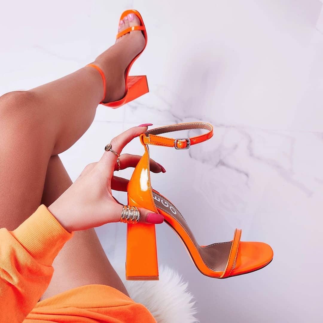 Atomic Square Block Heel In Neon Orange Patent
