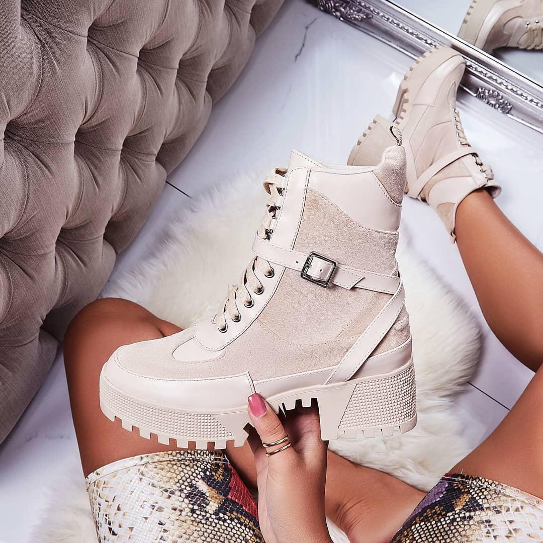 Boujee Chunky Sole Lace Up Ankle Boot In Nude