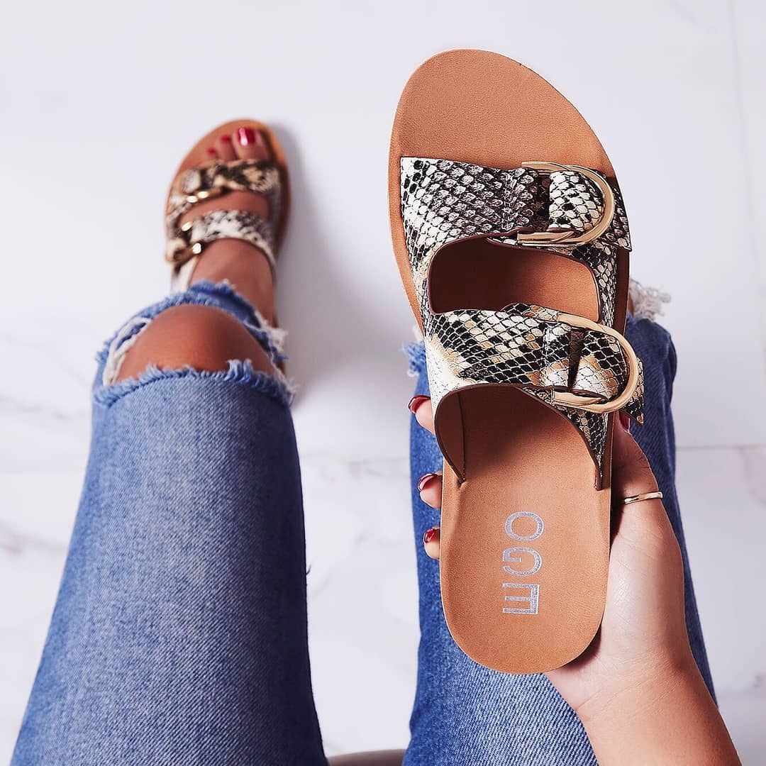 Fyfy Buckle Detail Slider In Nude Snake Print Faux Leather