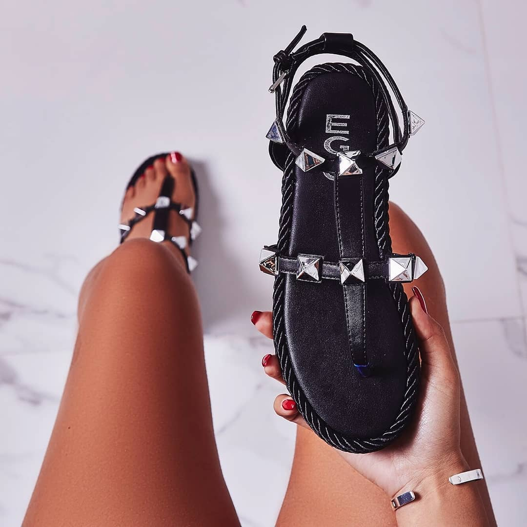 Maisie Studded Detail Rope Espadrille In Black Faux Leather