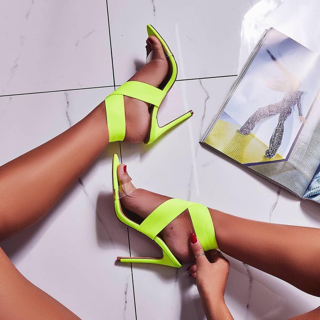 Joma Perspex Detail Heel In Lime Green Lycra