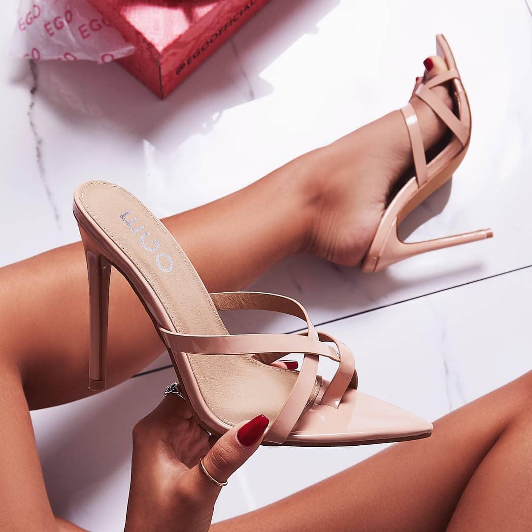 Julie Toe Strap Heel Mule In Nude Patent