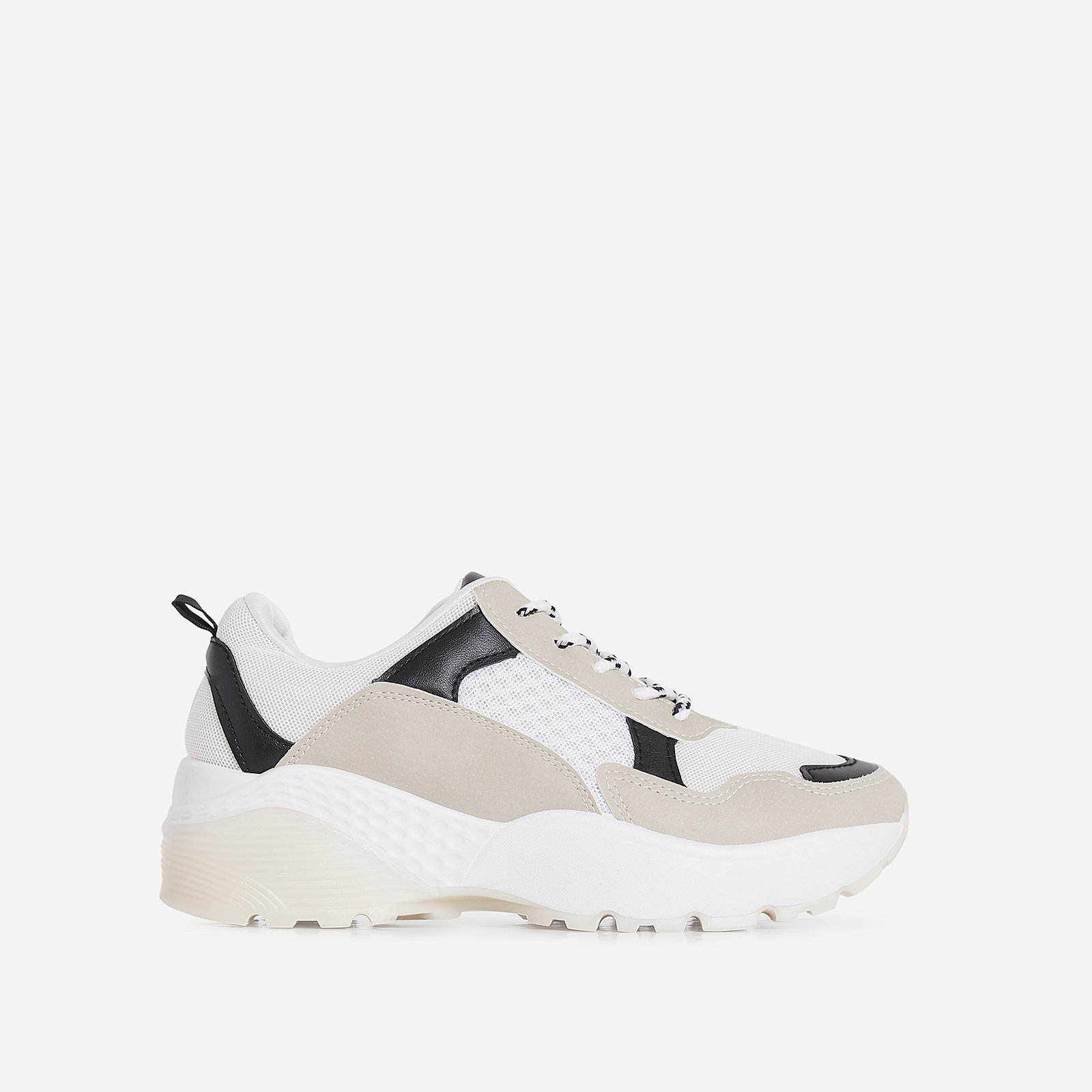 Alpha Chunky Sole Trainer In Nude And White