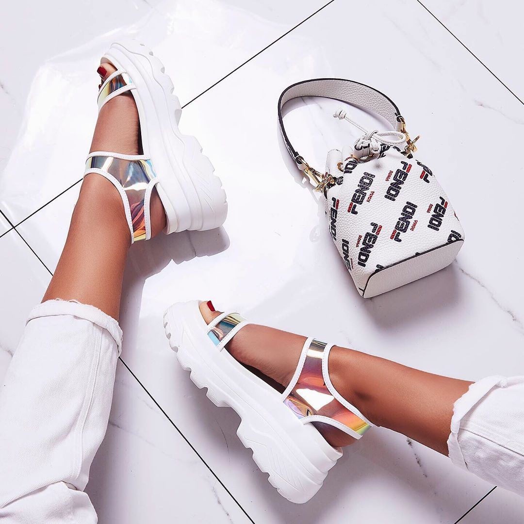 Street Chunky Sole Sandal In Iridescent Perspex