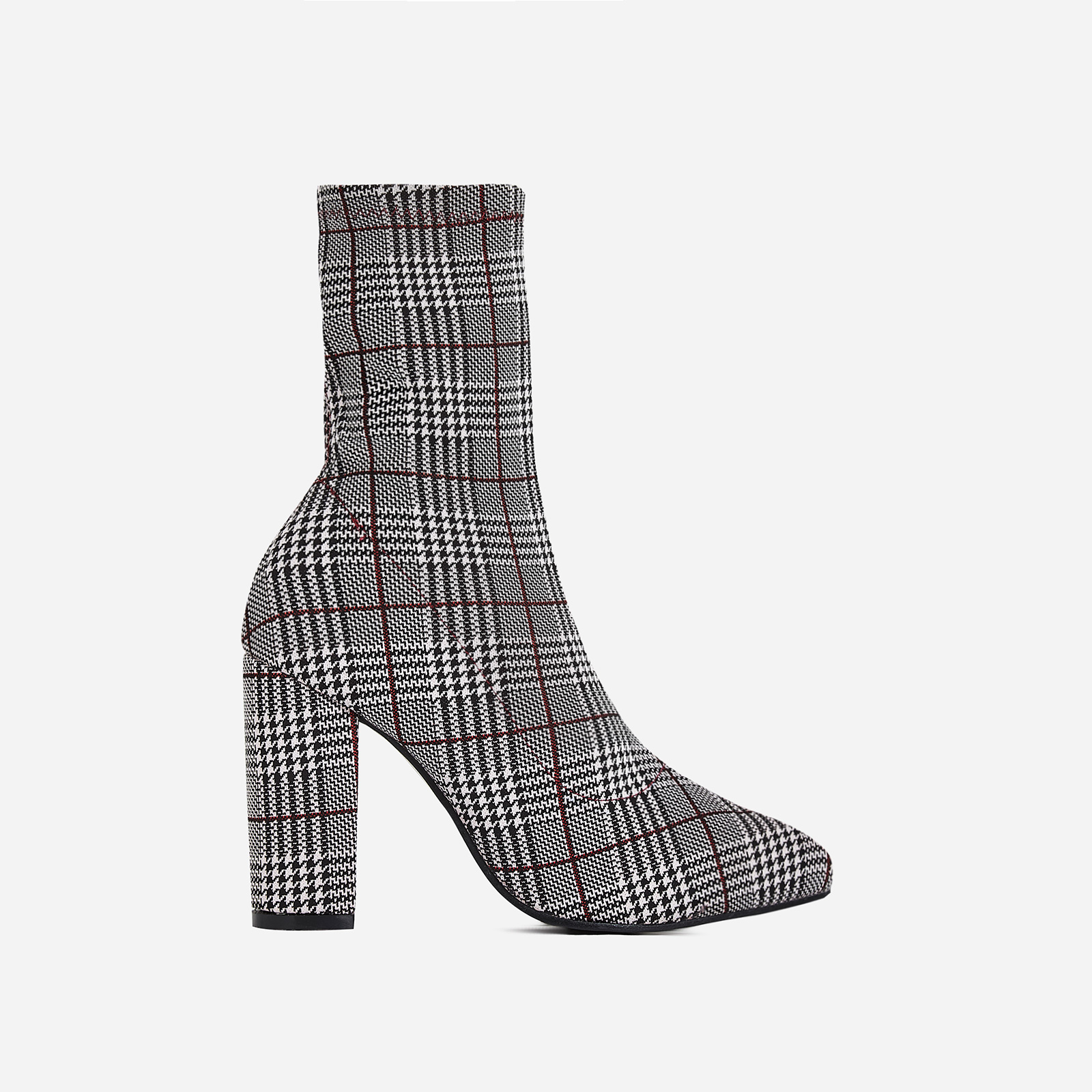 Blair Block Heel Ankle Sock Boot In Red Tartan Fabric