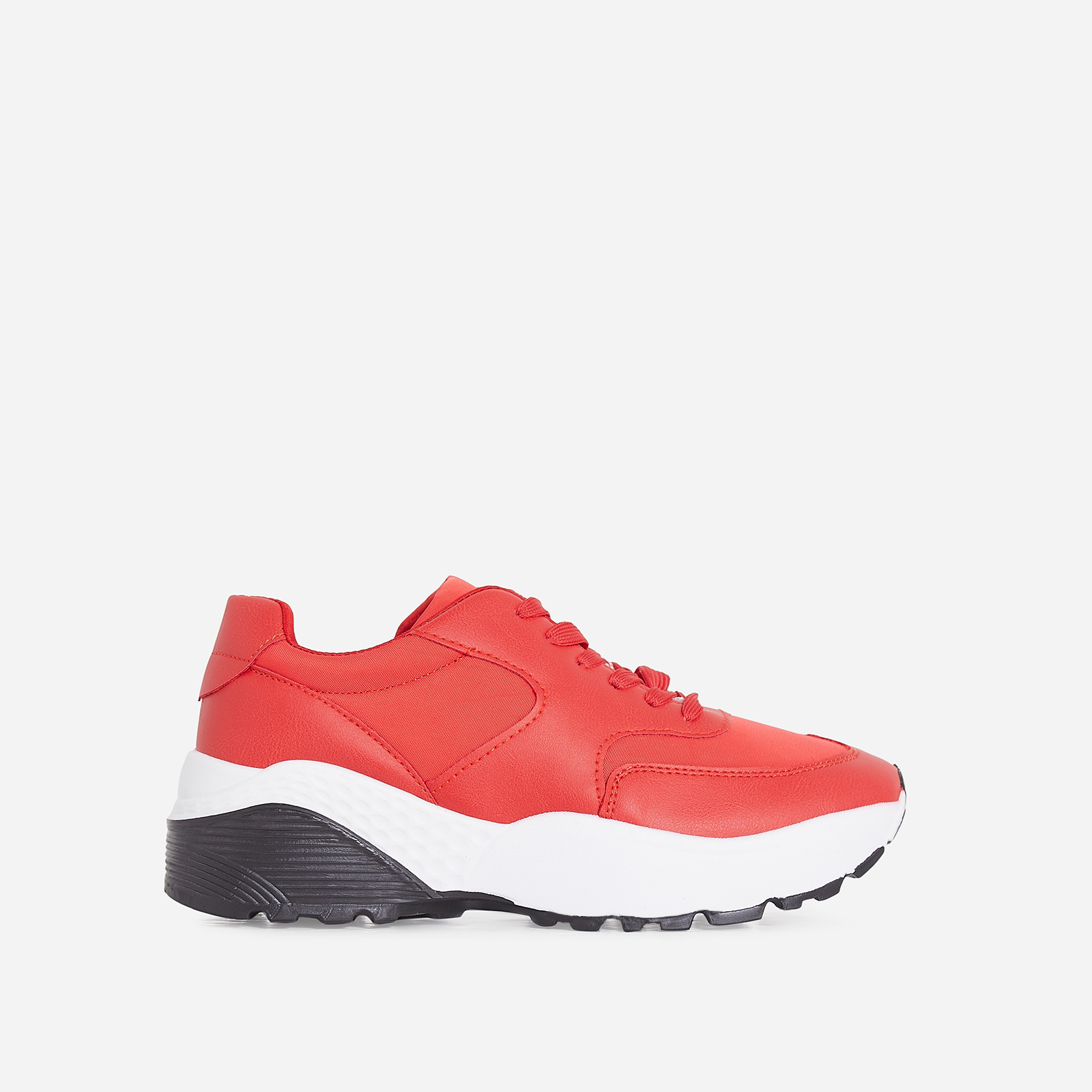 Nia Chunky Sole Trainer In Red Faux Leather