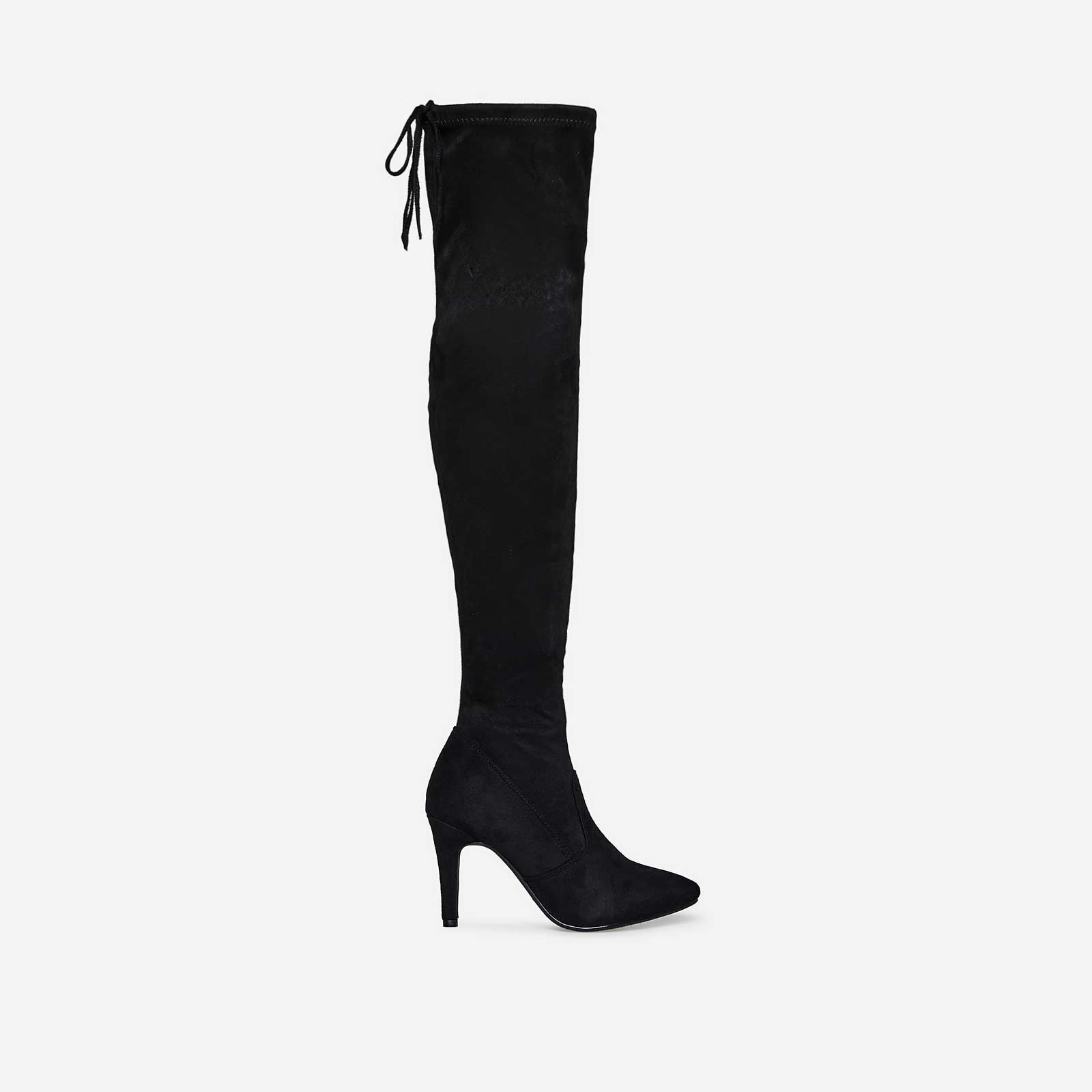 Sia Over The Knee Long Boot In Black Faux Suede