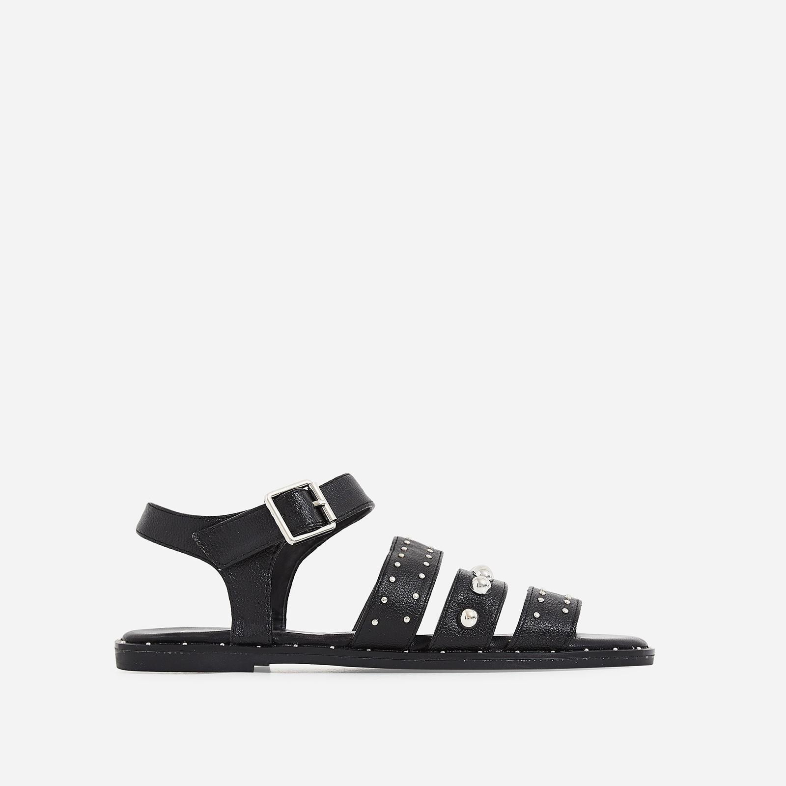 Elara Studded Detail Sandal In Black Faux Leather