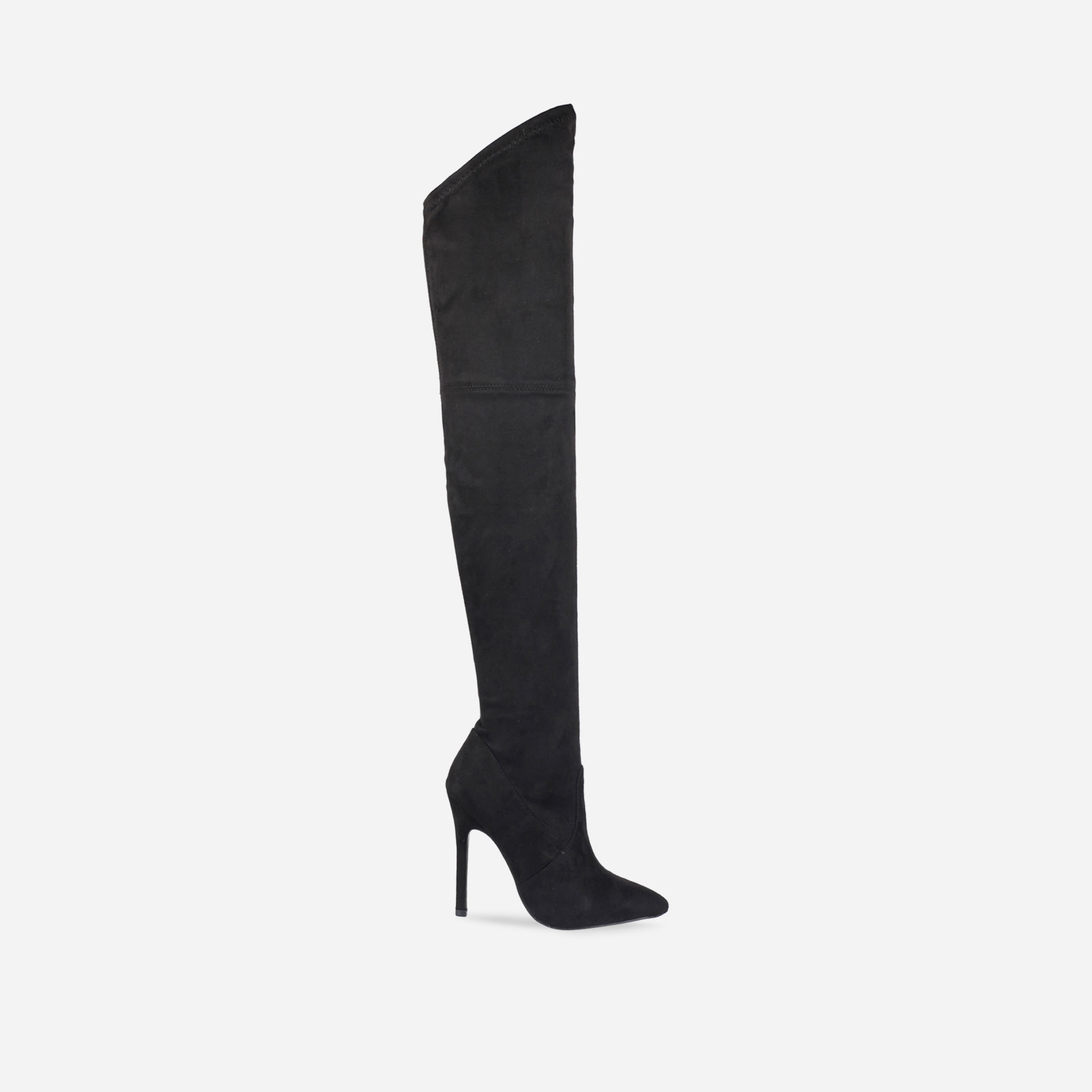 Amber Over The Knee Black Faux Suede Stiletto Boot Image 1