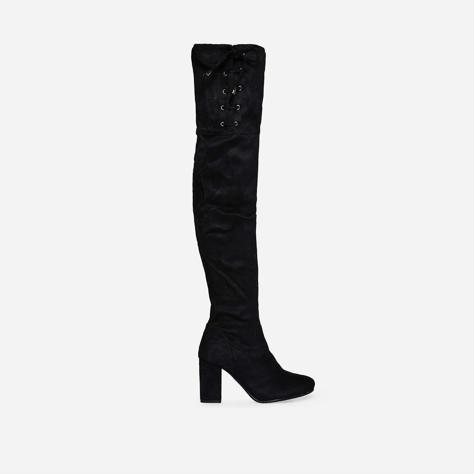 Bristol Thigh High Long Boot In Black Faux Suede