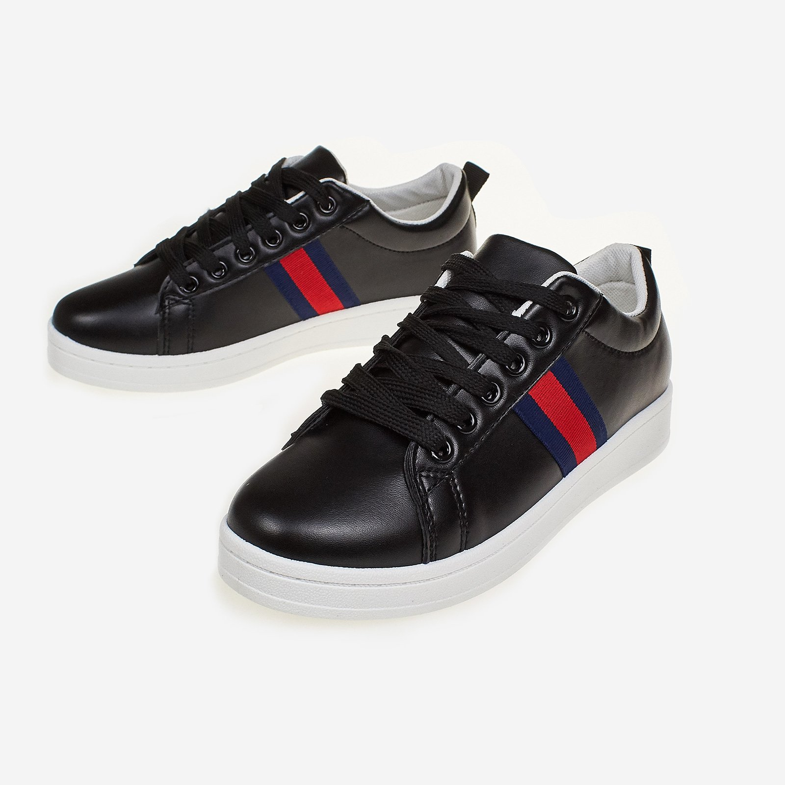 Icon Stripe Trainer In Black Faux Leather
