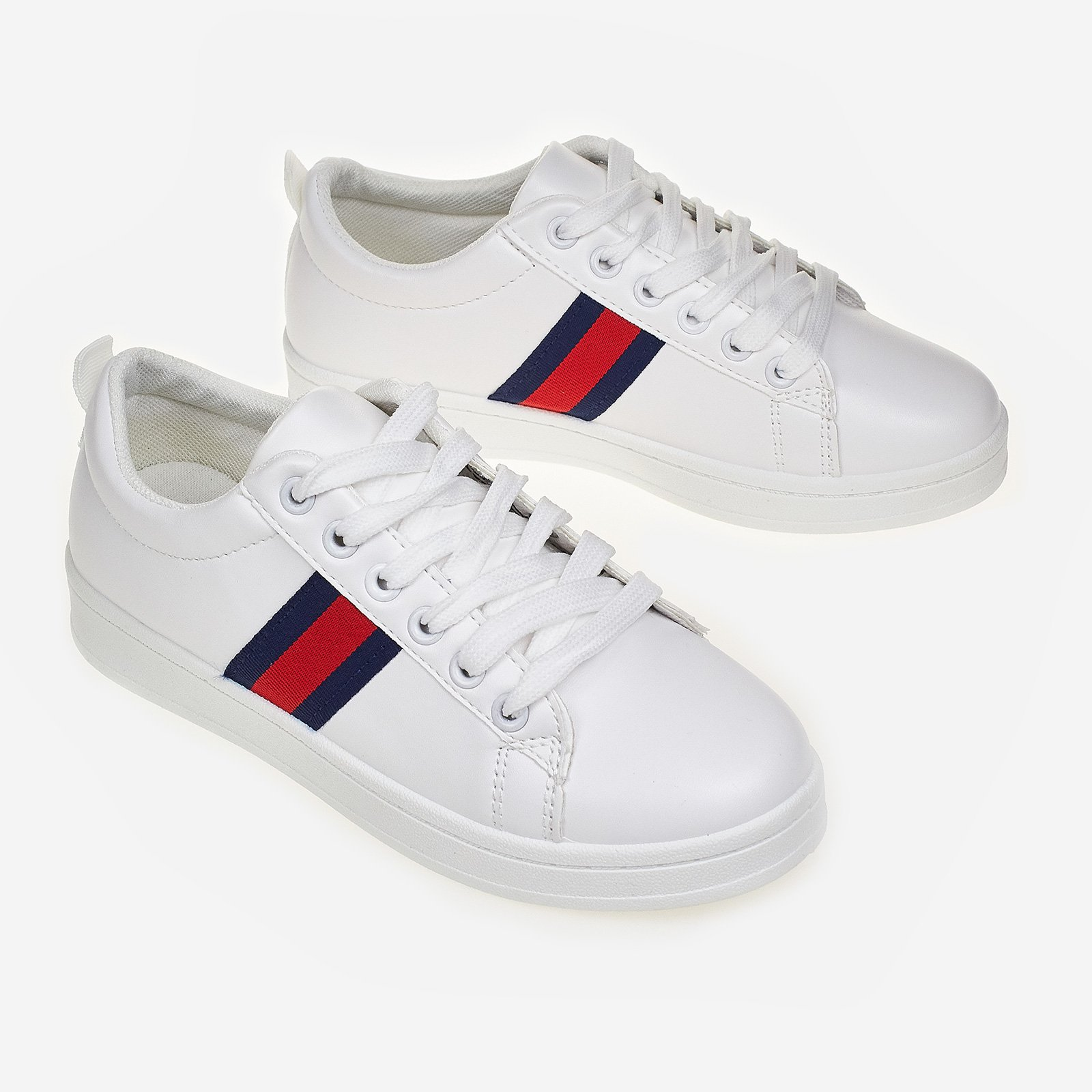 Icon Stripe Trainer In White Faux Leather
