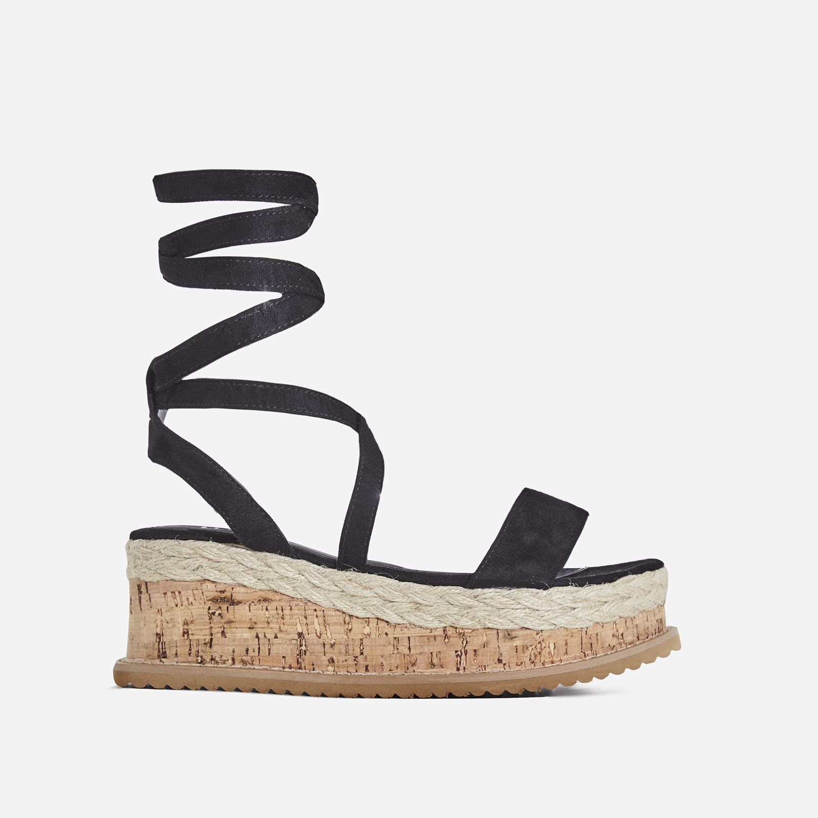 Abigail Strappy Espadrille Flatform In Black Faux Suede Image 1