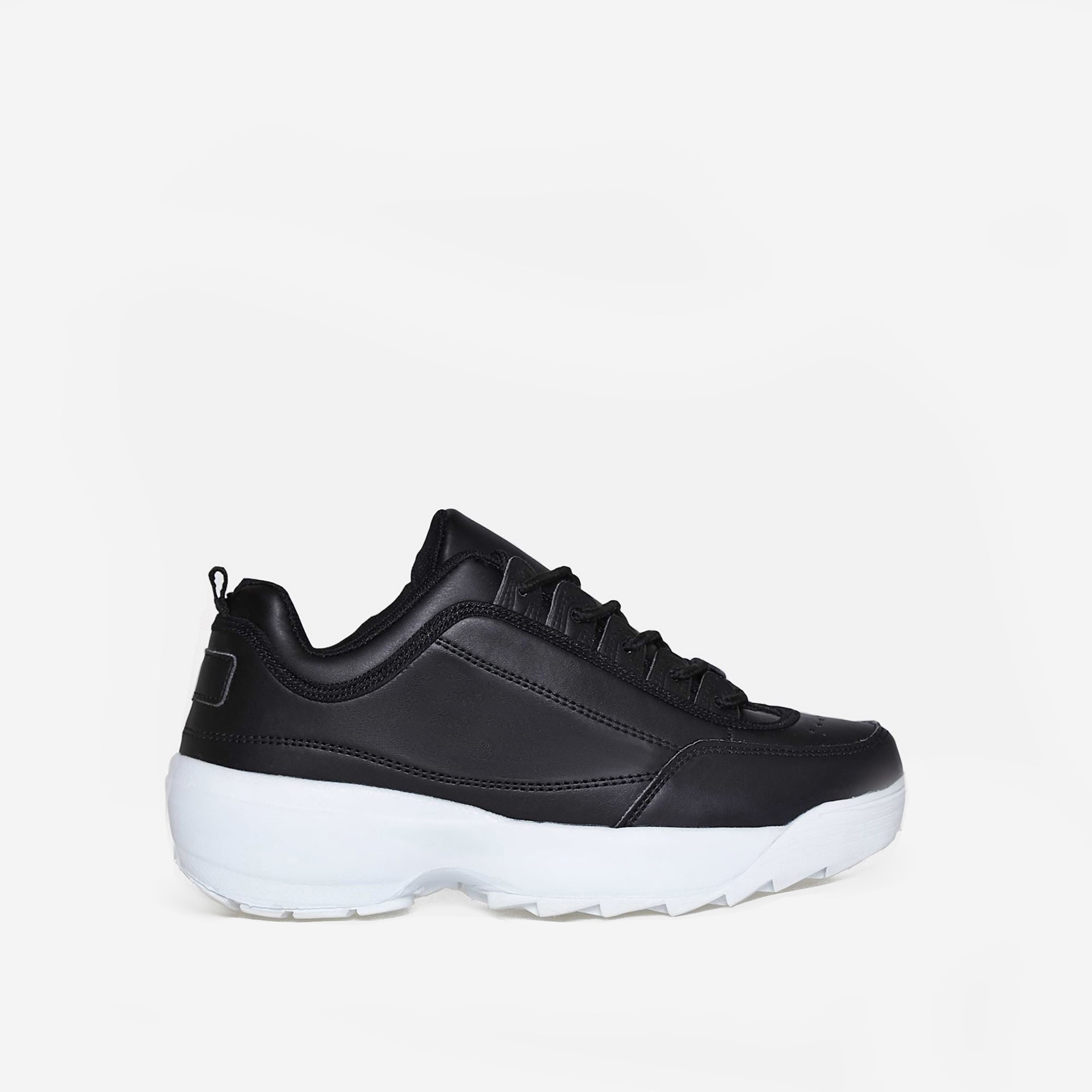 James Chunky Trainer In Black Faux Leather