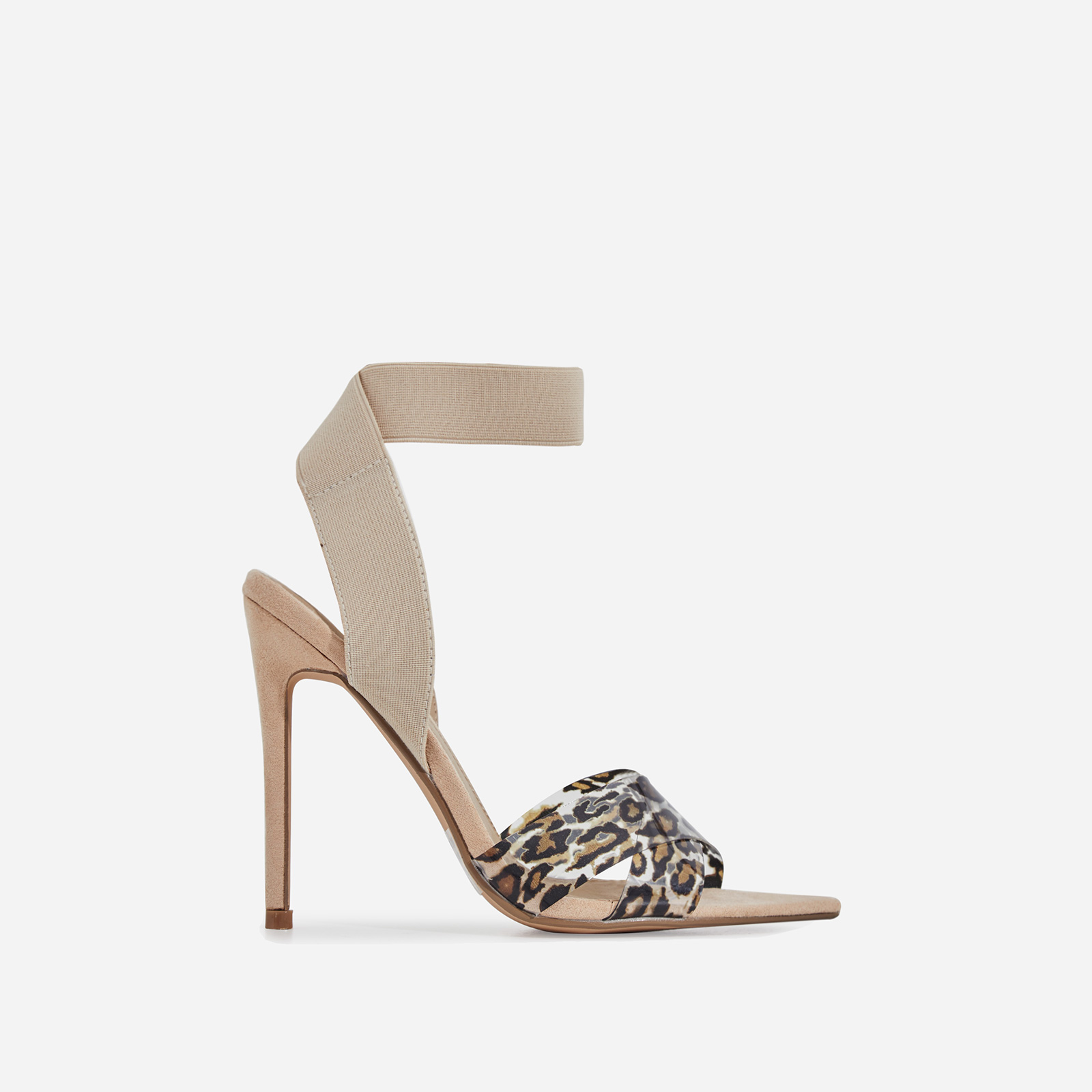 Adair Animal Print Perspex Detail Elasticated Heel In Nude Faux Suede