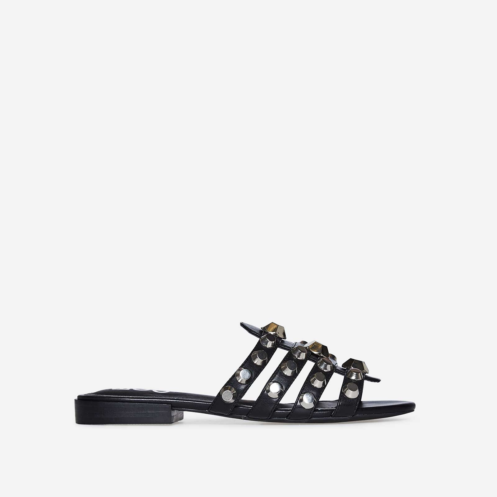 Adeline Silver Studded Detail Slider In Black Faux Leather
