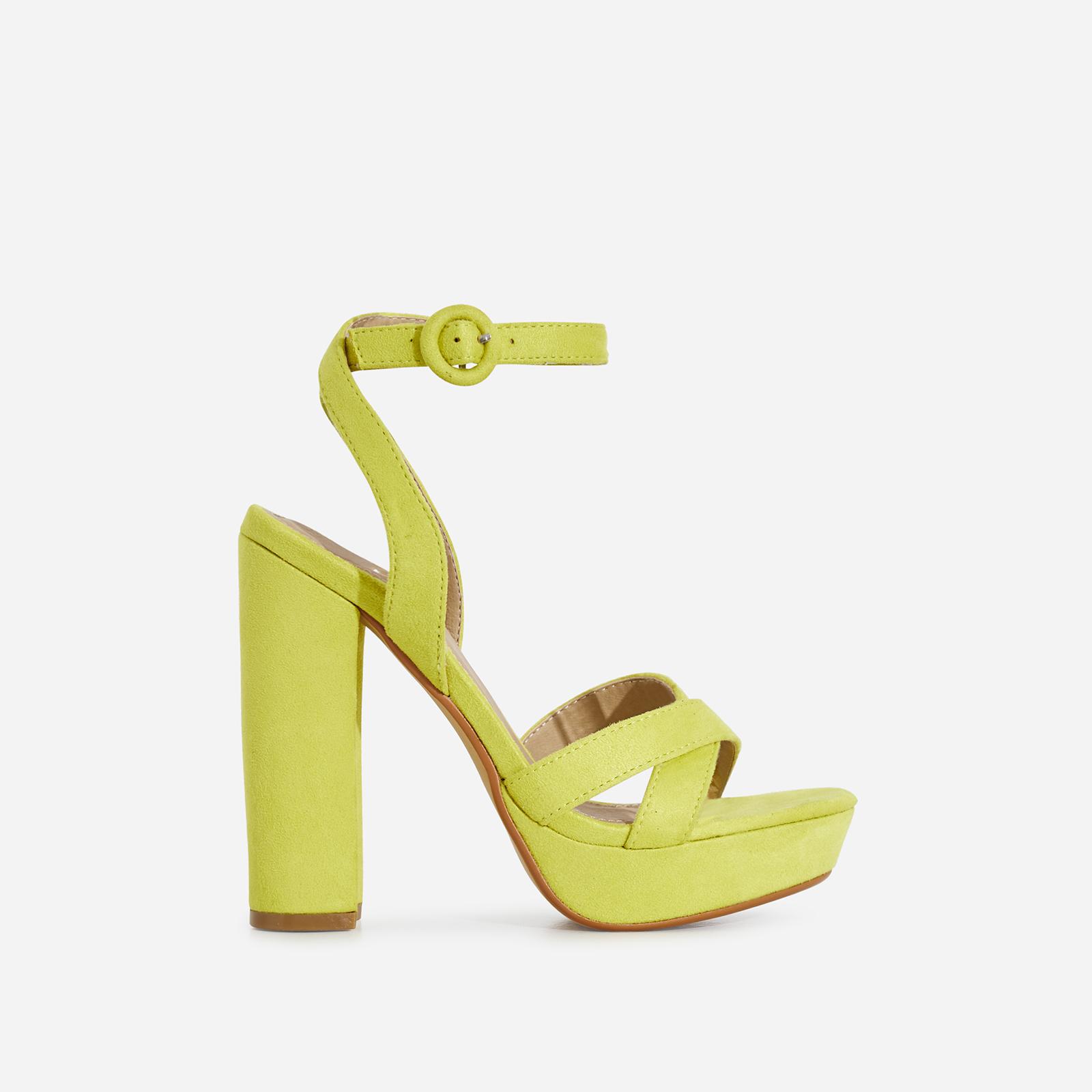 Amie Platform Heel In Lime Green Faux Suede