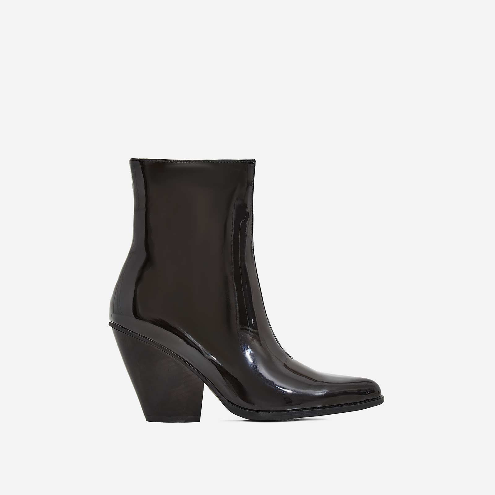 Alba Western Ankle Boot In Black Patent