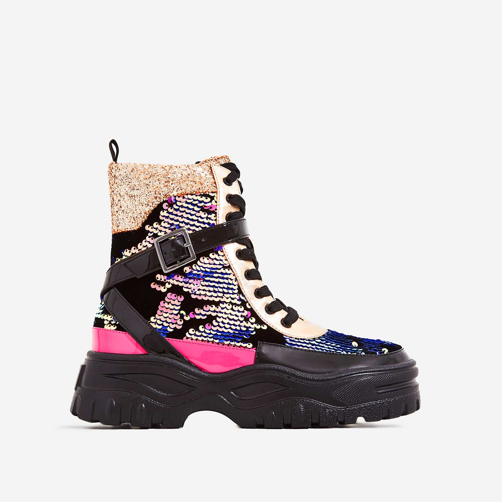 Aleena Chunky Sole Lace Up Ankle Boot In Multi Colour