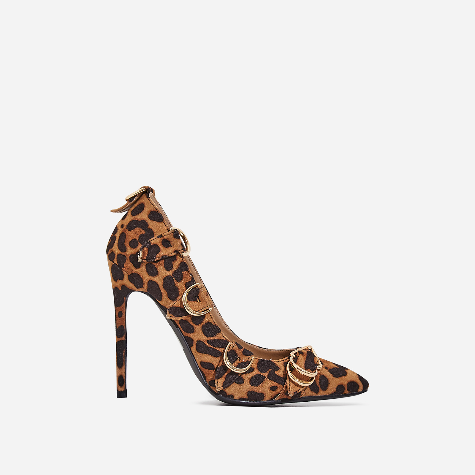 Aleko Buckle Detail Court Heel In Tan Leopard Print Faux Suede