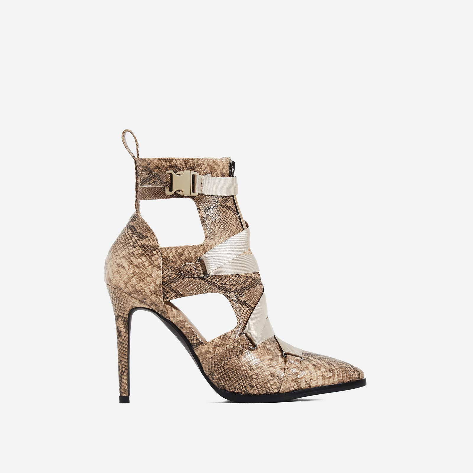Alessia Strap Detail Ankle Boot In Nude Snake Print Faux Leather