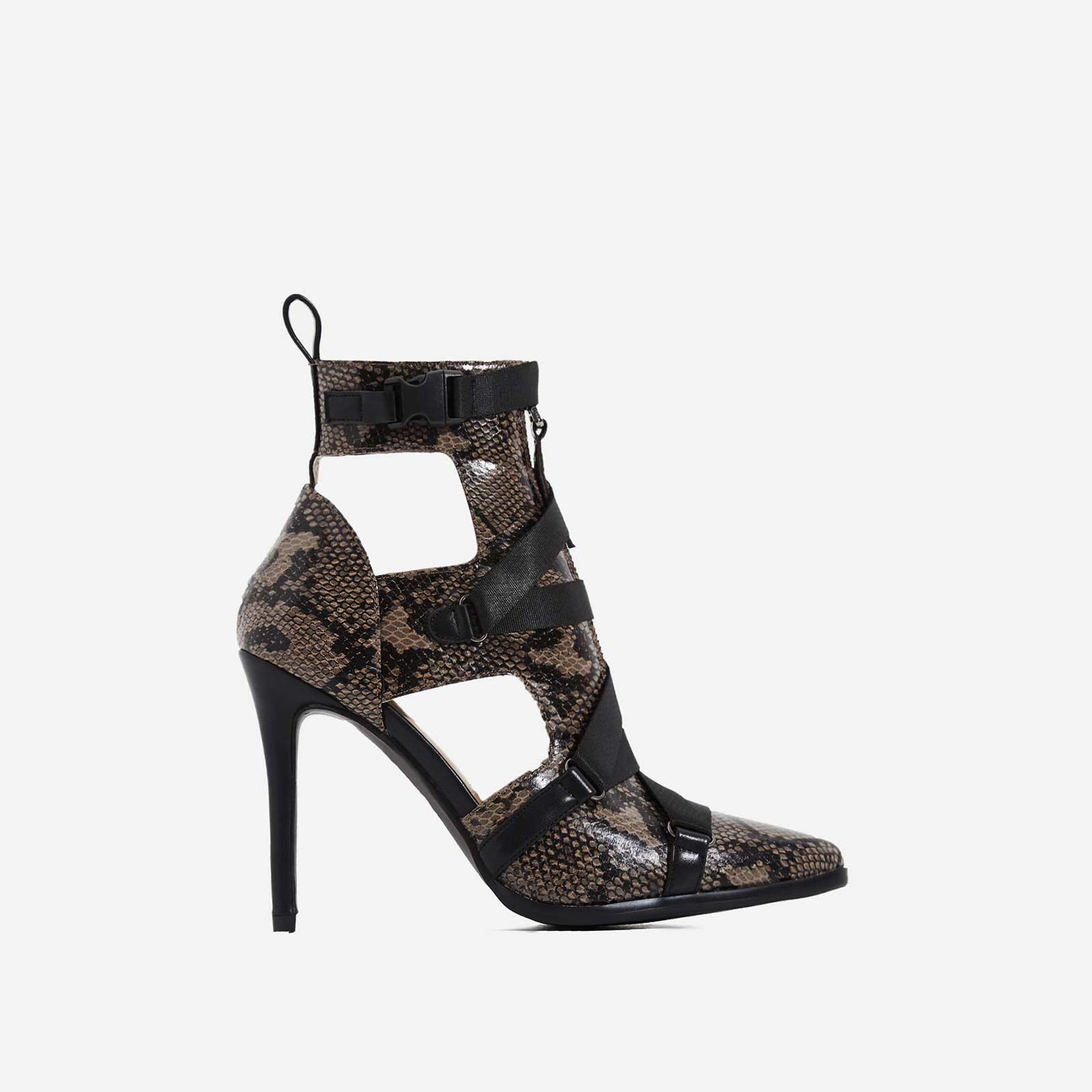 Alessia Strap Detail Ankle Boot In Brown Snake Print Faux Leather