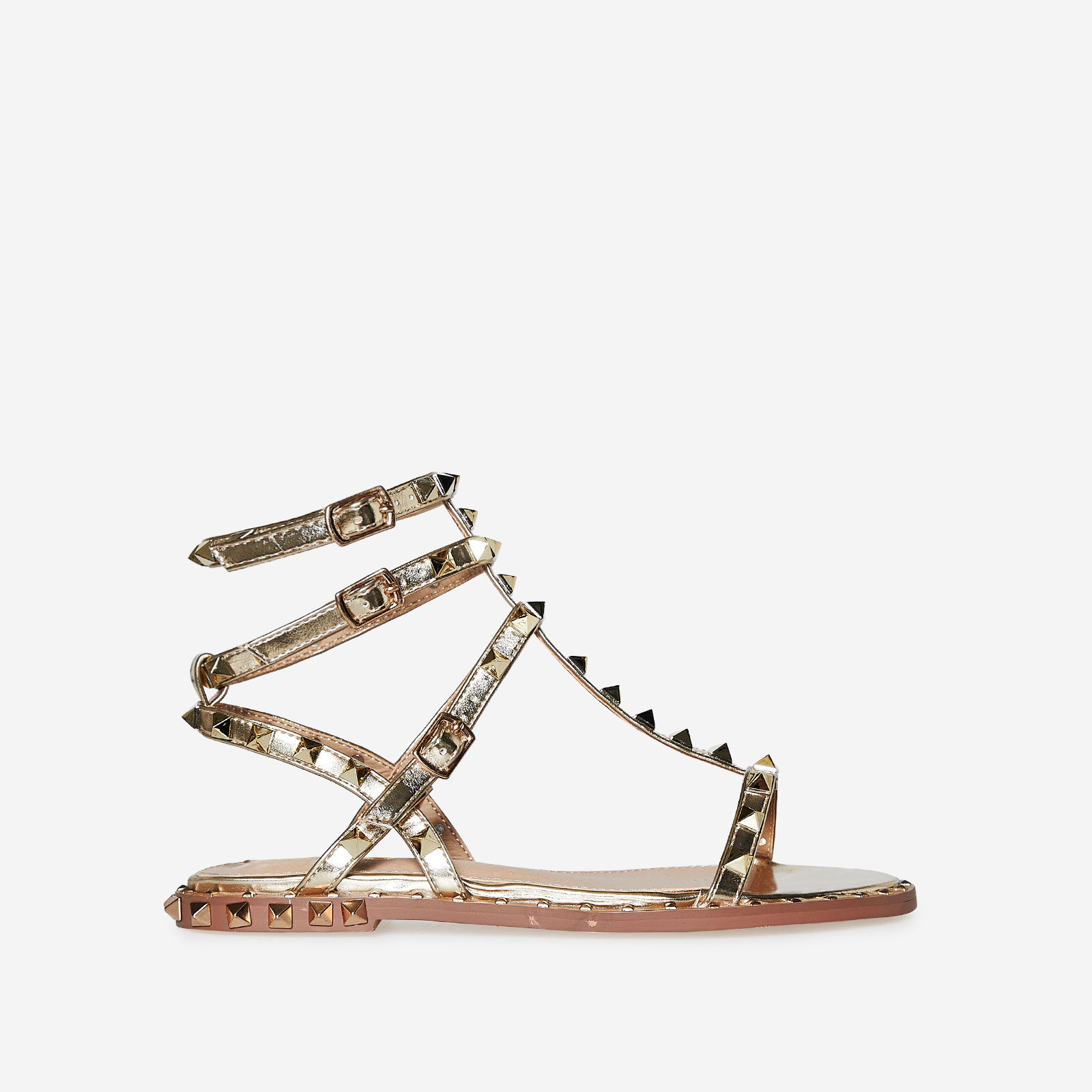 Alfie Studded Detail Gladiator Sandal In Rose Gold Faux Leather