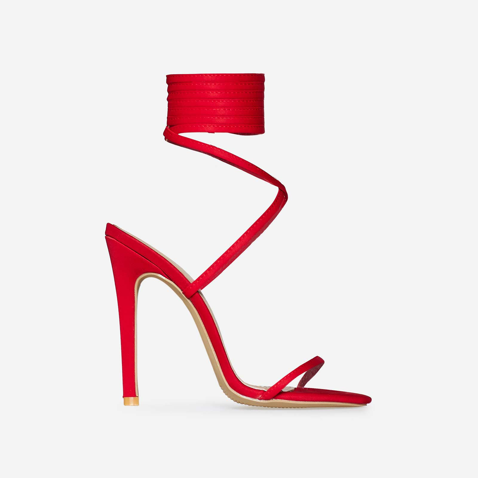 Ali Lace Up Heel In Red Lycra