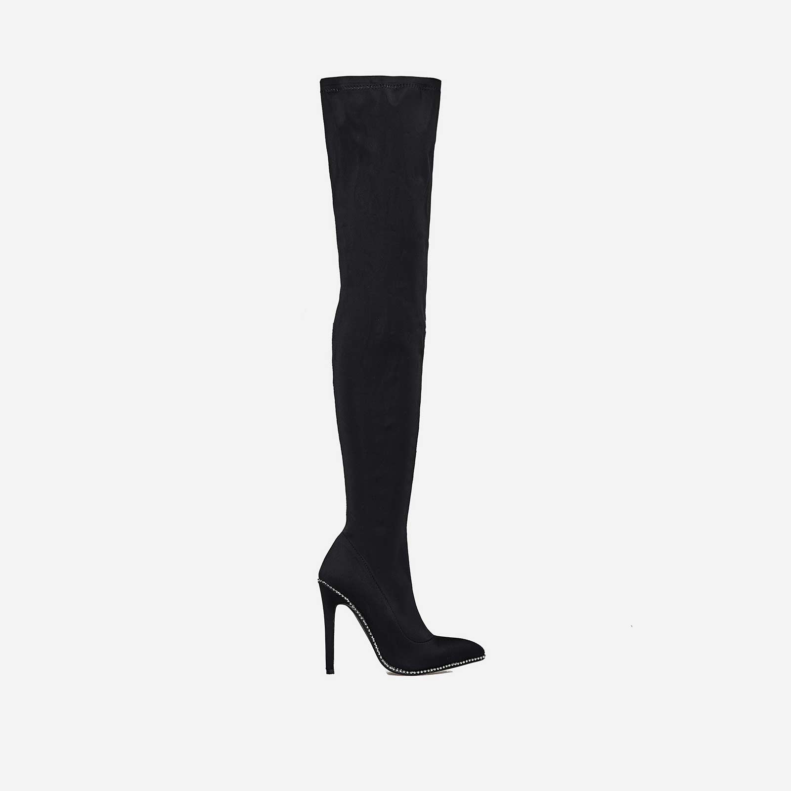 Alto Studded Detail Thigh High Long Boot In Black Lycra