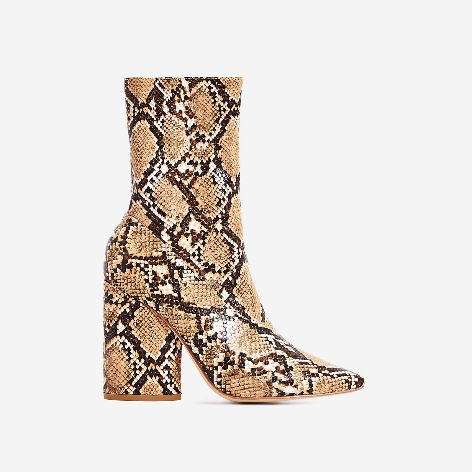98b484b6f01 Ameera Block Heel Pointed Ankle Boot In Nude Snake Print Faux Leather