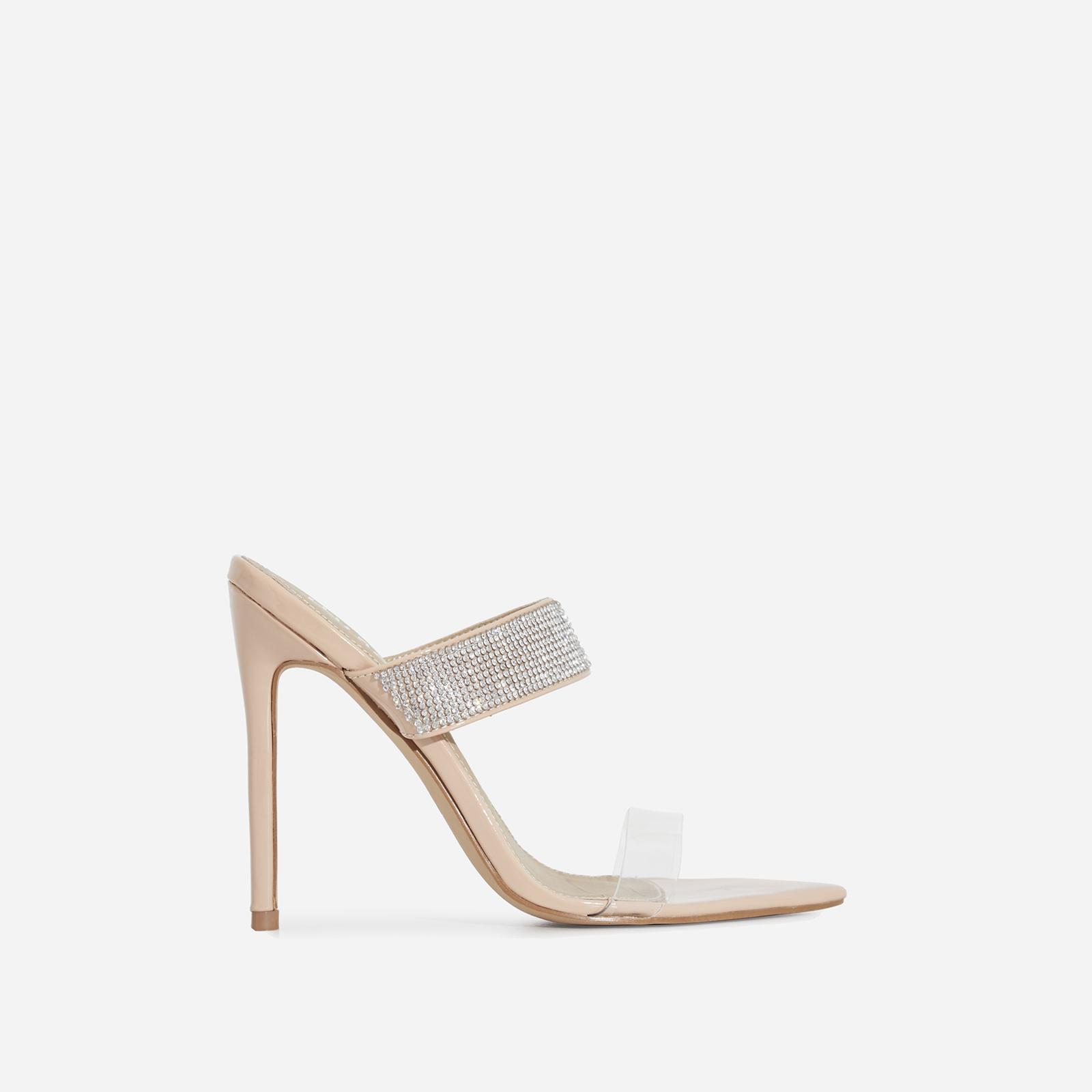 Ammi Diamante Perspex Heel Mule In Nude Patent
