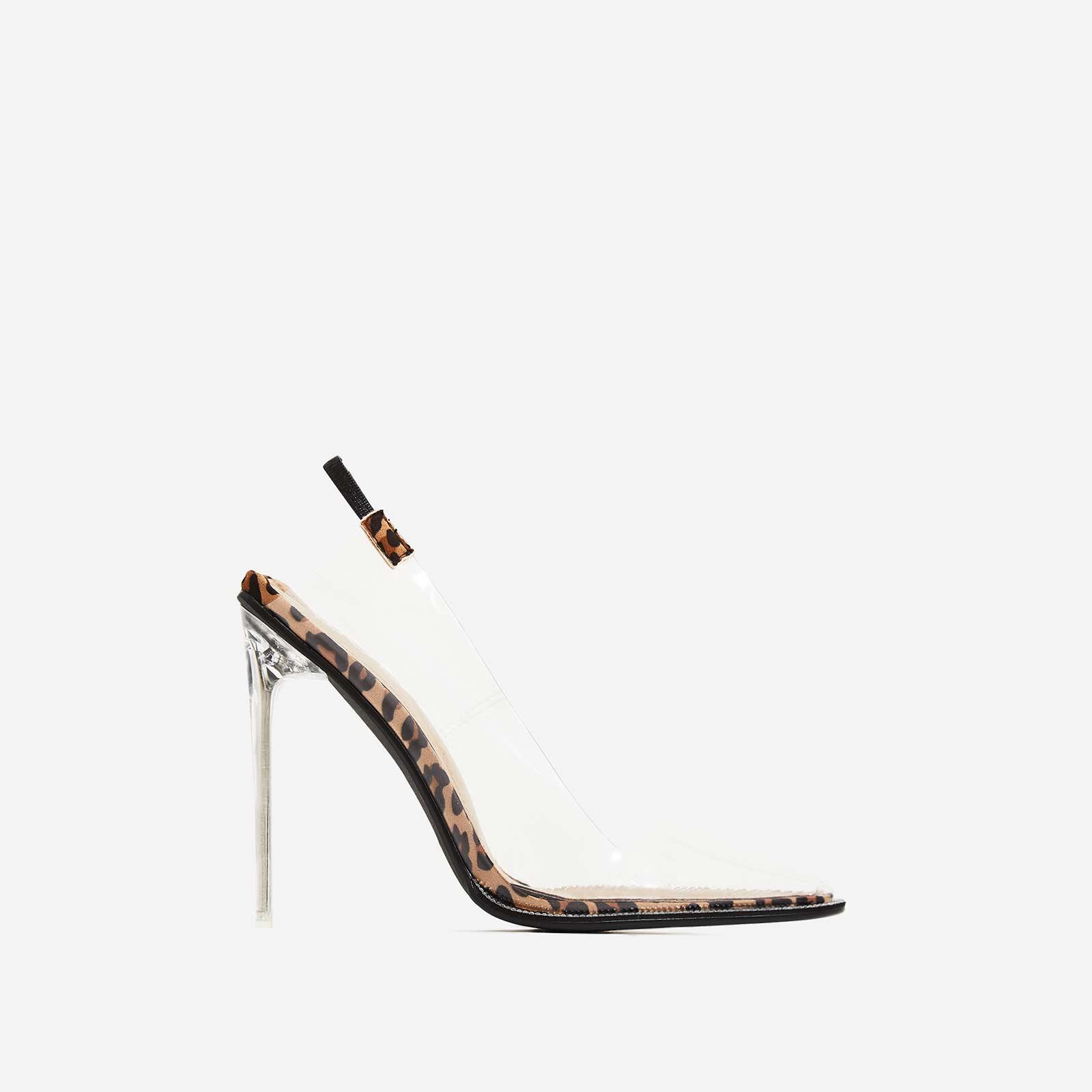 Amor Perspex Diamante Detail Heel In Tan Leopard Faux Suede