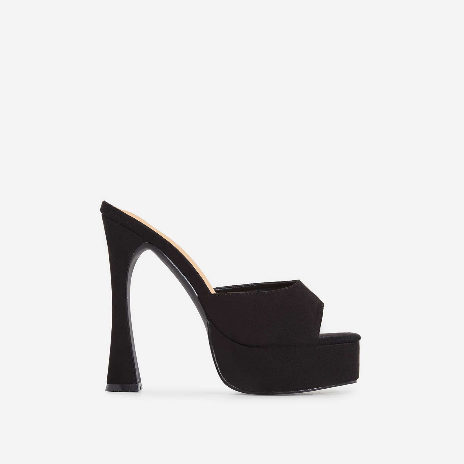 Amp Platform Flared Block Heel Mule In Black Faux Suede