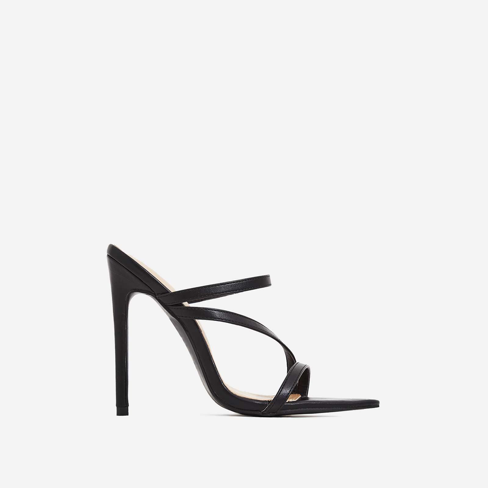Aria Toe Strap Heel Mule In Black Faux Leather