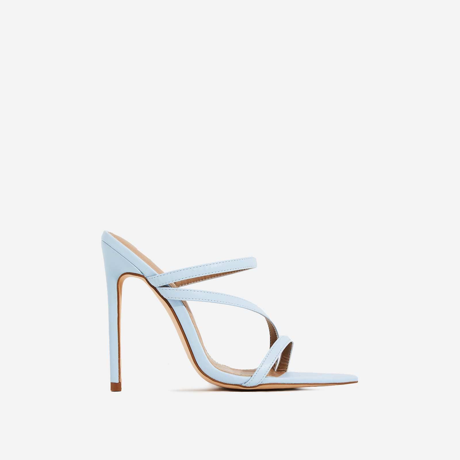 Aria Toe Strap Heel Mule In Light Blue Faux Leather