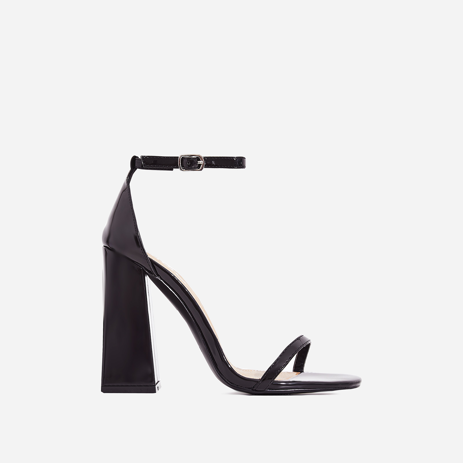 Atomic Square Block Heel  In Black Patent