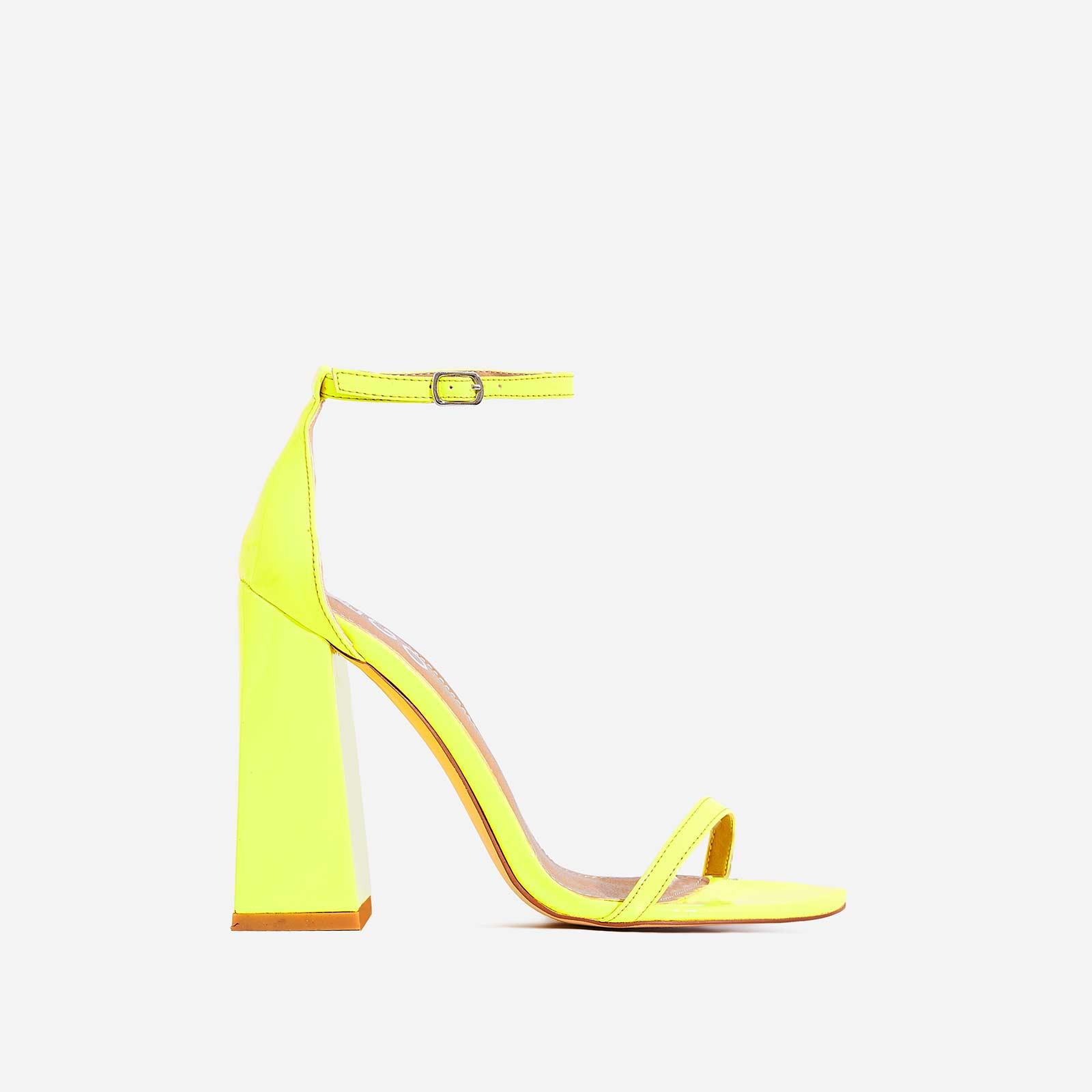 Atomic Square Block Heel  In Neon Yellow Patent