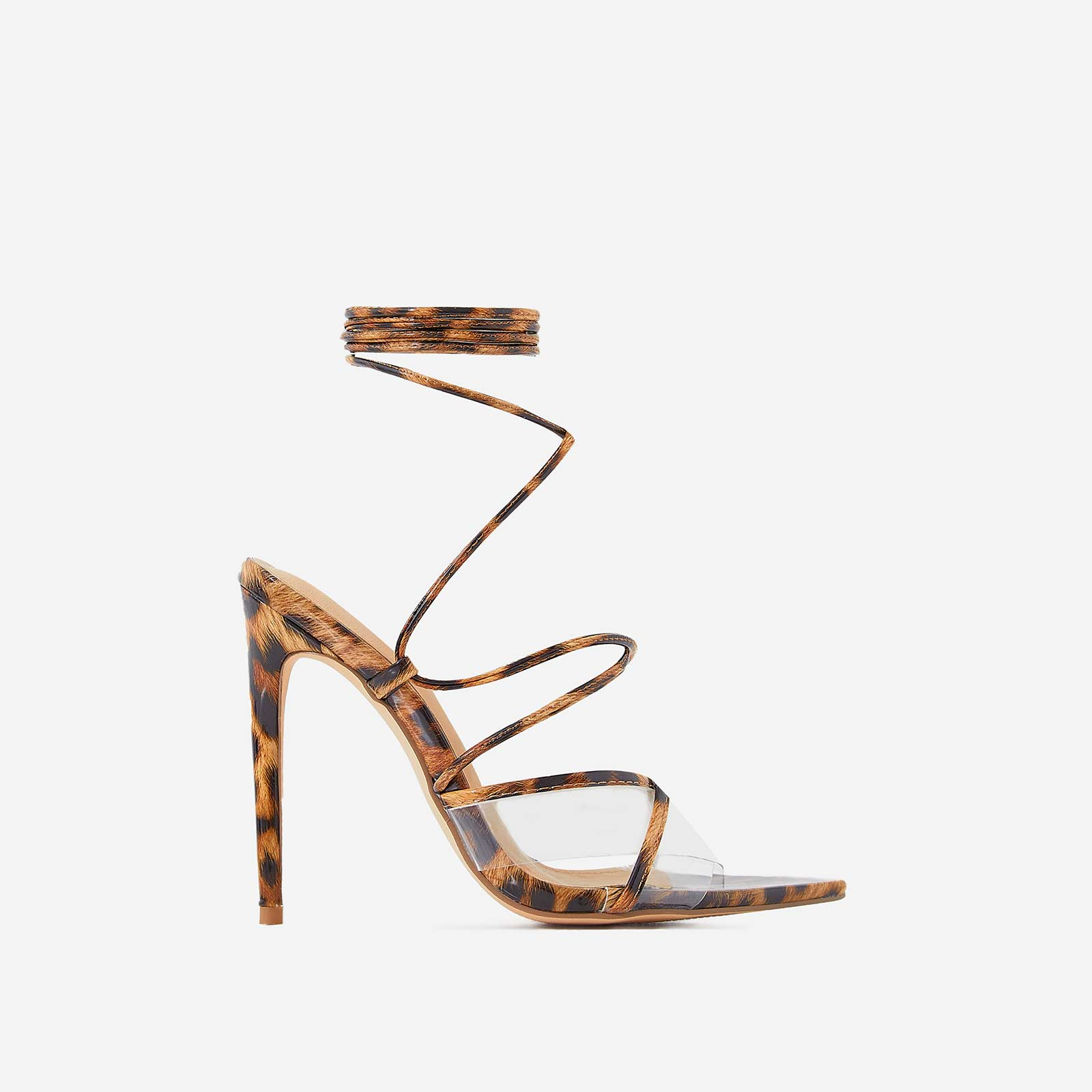 Ava Perspex Lace Up Heel In Tan Leopard Print Patent